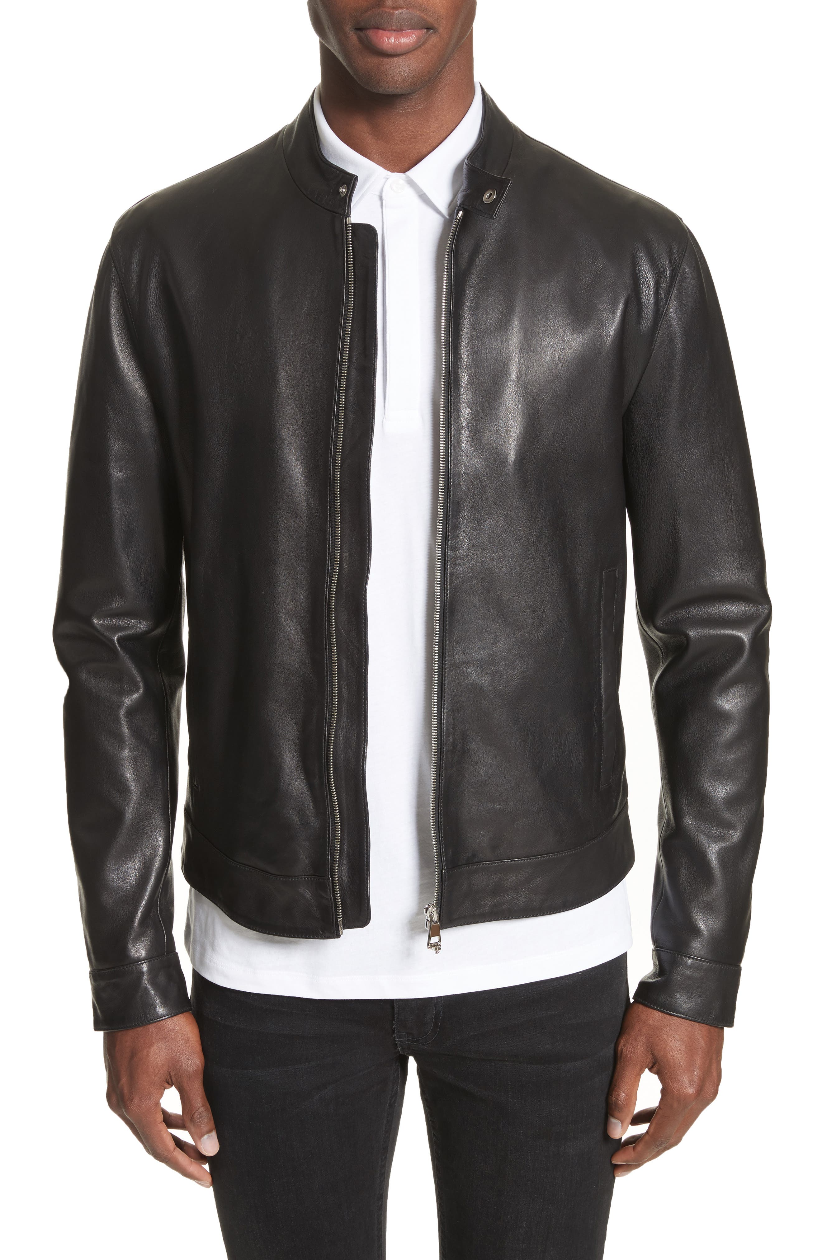 Band Collar Leather Jacket,                         Main,                         color, 130