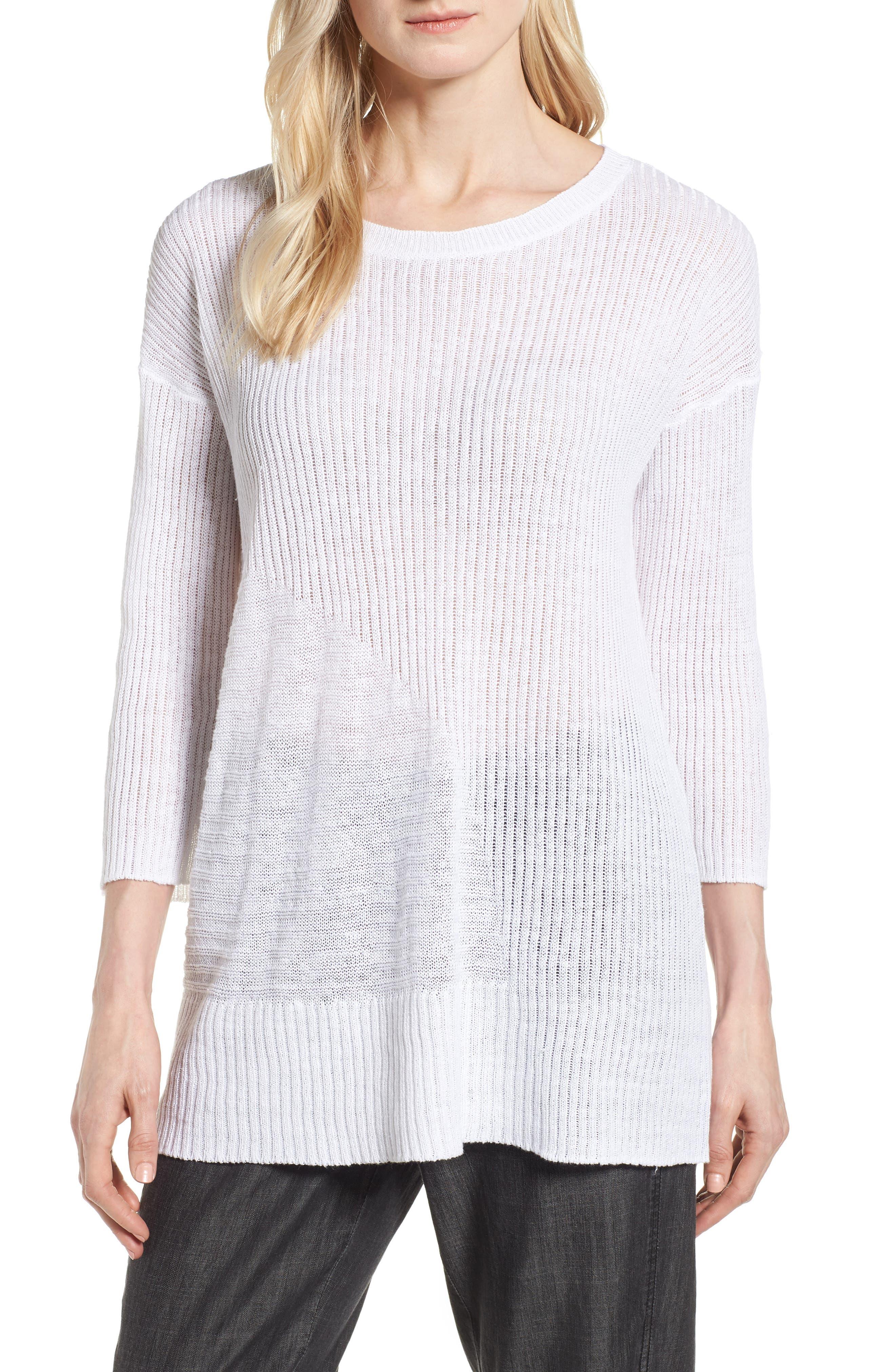 Organic Linen Tunic Sweater,                             Main thumbnail 1, color,                             100