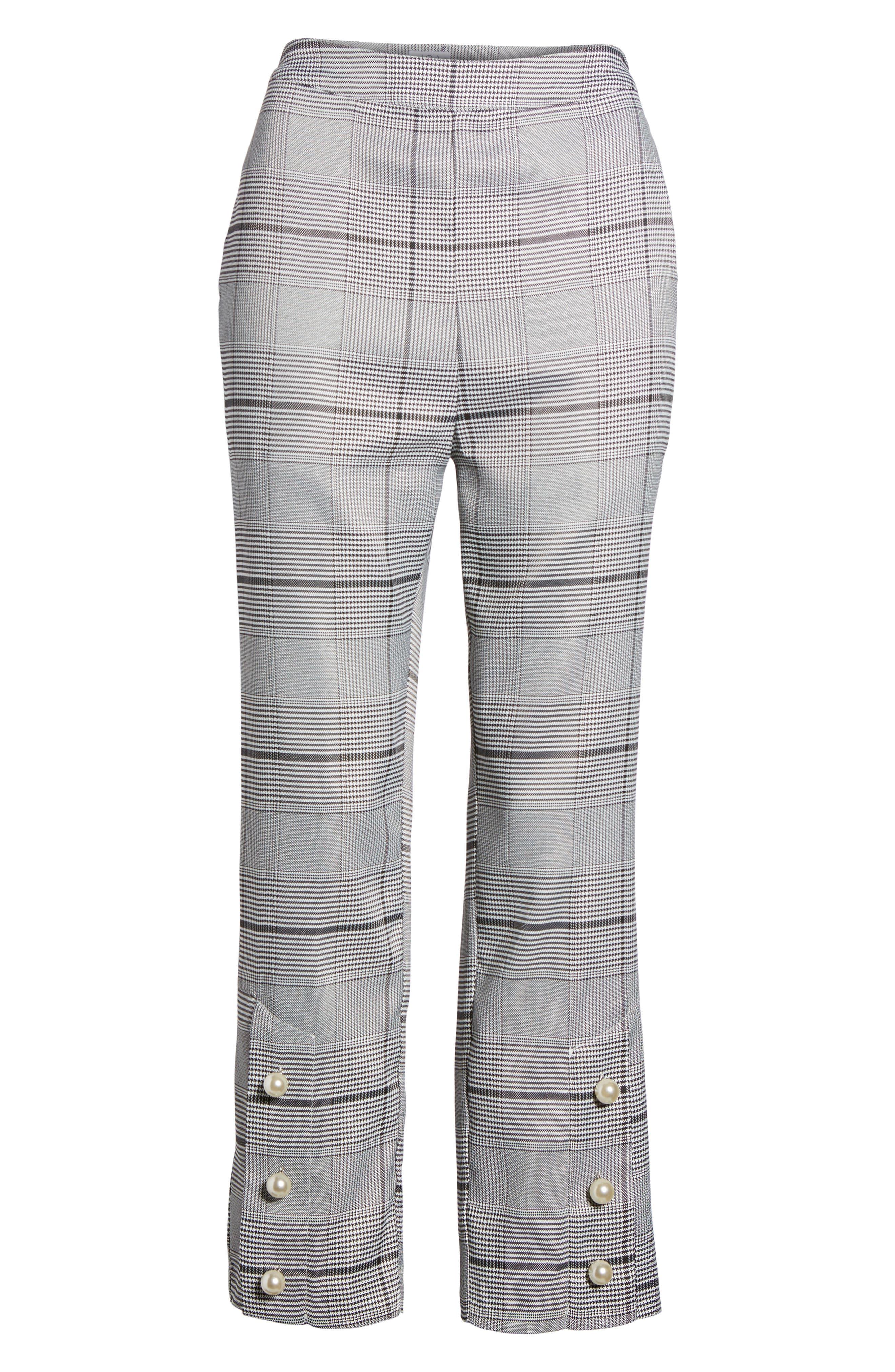 Crop Plaid Pants,                             Alternate thumbnail 6, color,