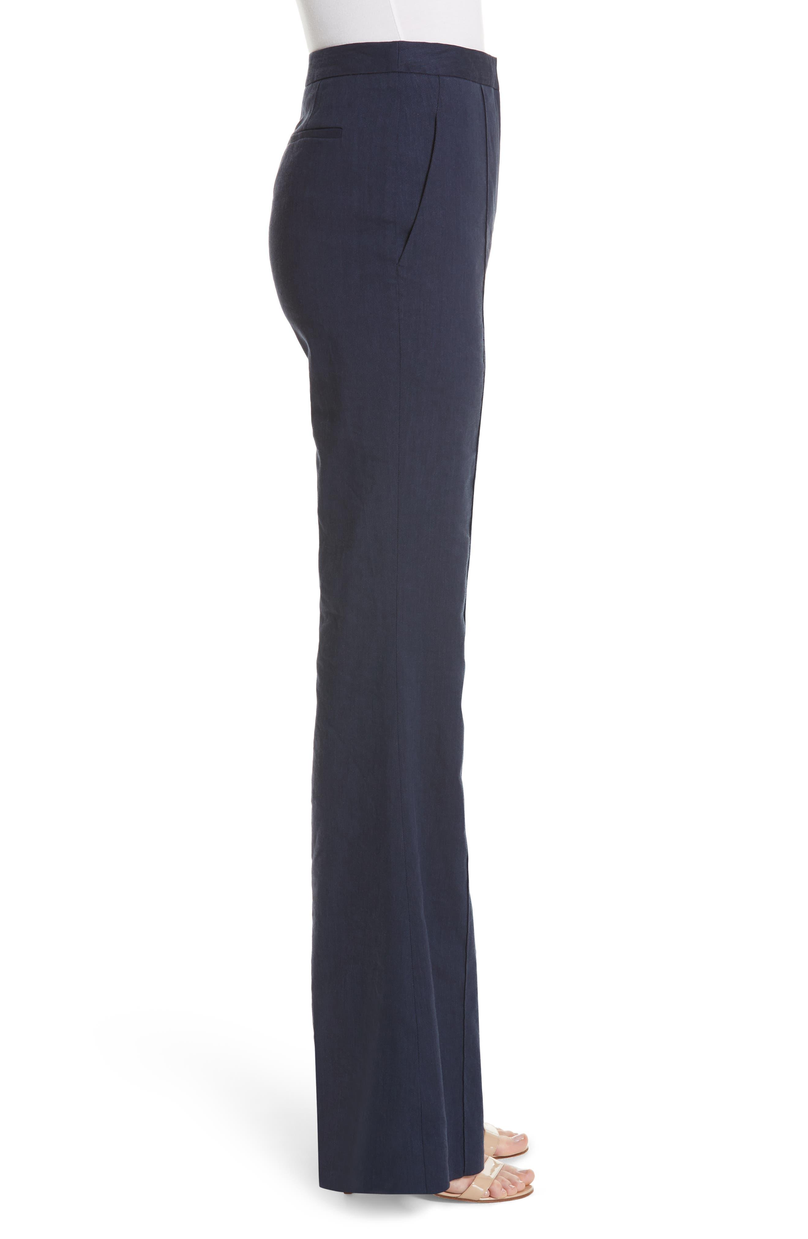 Diane von Furstenberg Pleat Front Flare Stretch Linen Blend Pants,                             Alternate thumbnail 3, color,                             485