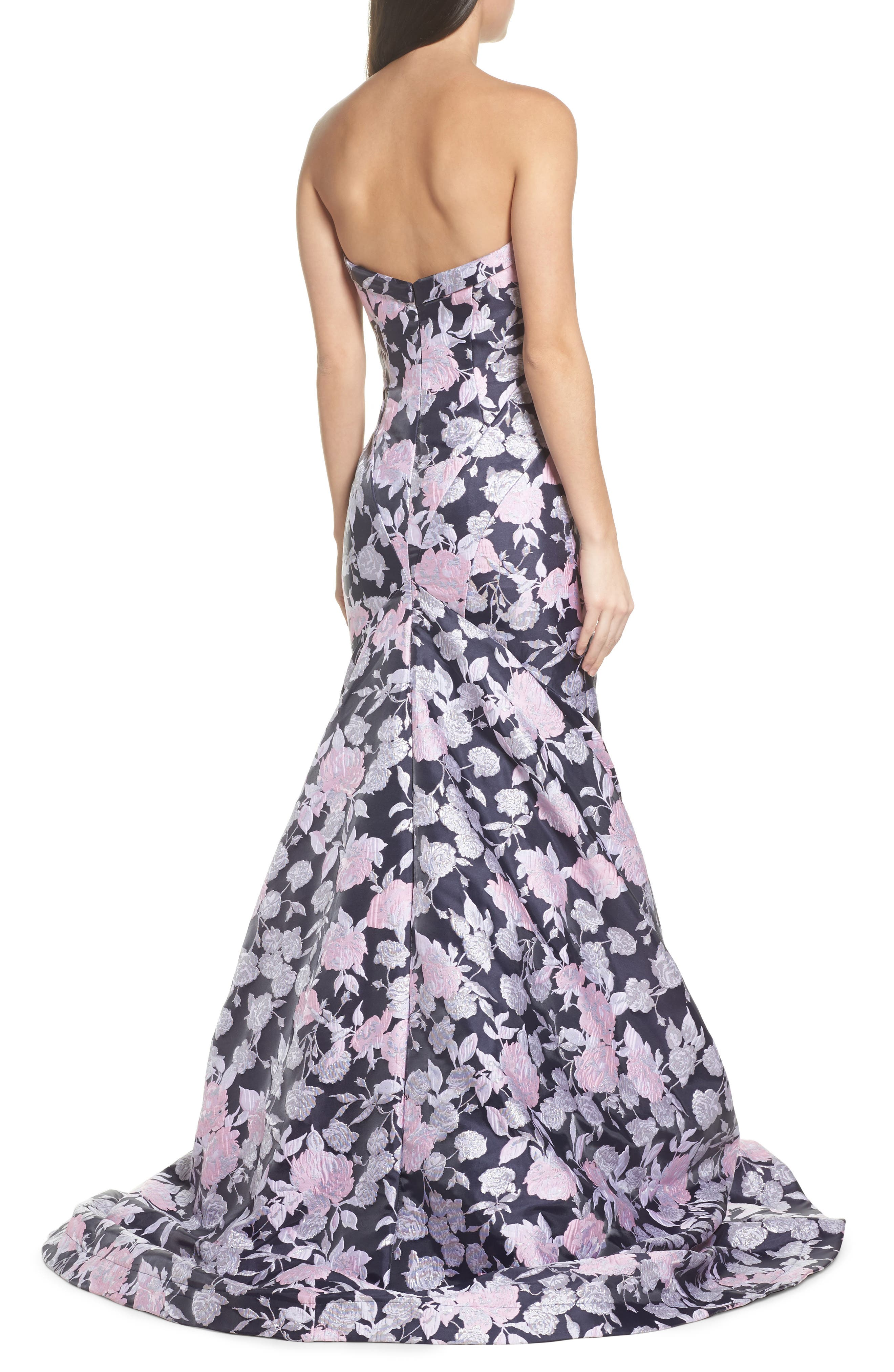 Floral Jacquard Strapless Mermaid Gown,                             Alternate thumbnail 2, color,                             416