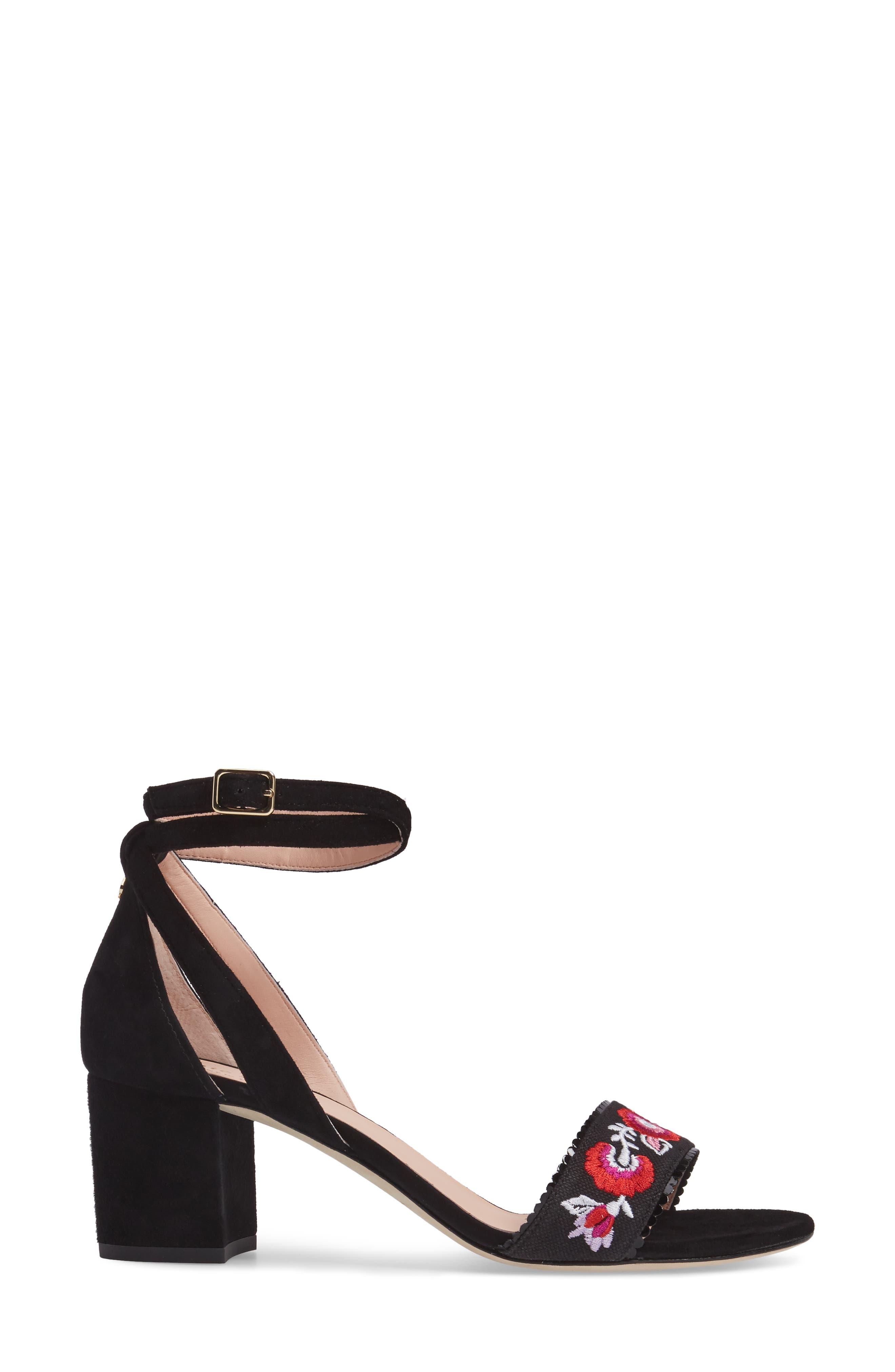 watson genuine calf hair block heel sandal,                             Alternate thumbnail 3, color,                             001