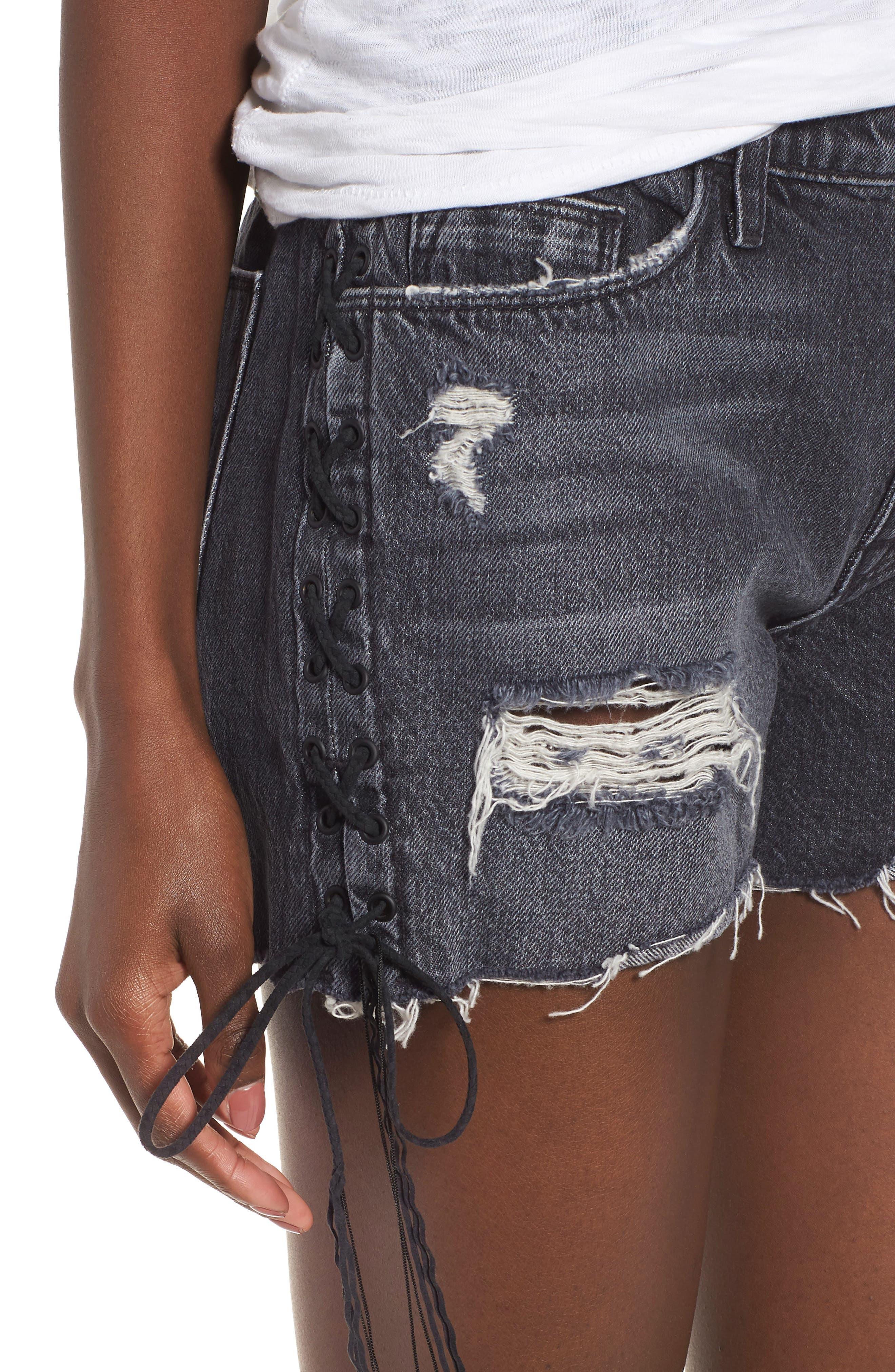 Sade Lace-Up Cutoff Denim Shorts,                             Alternate thumbnail 4, color,                             001