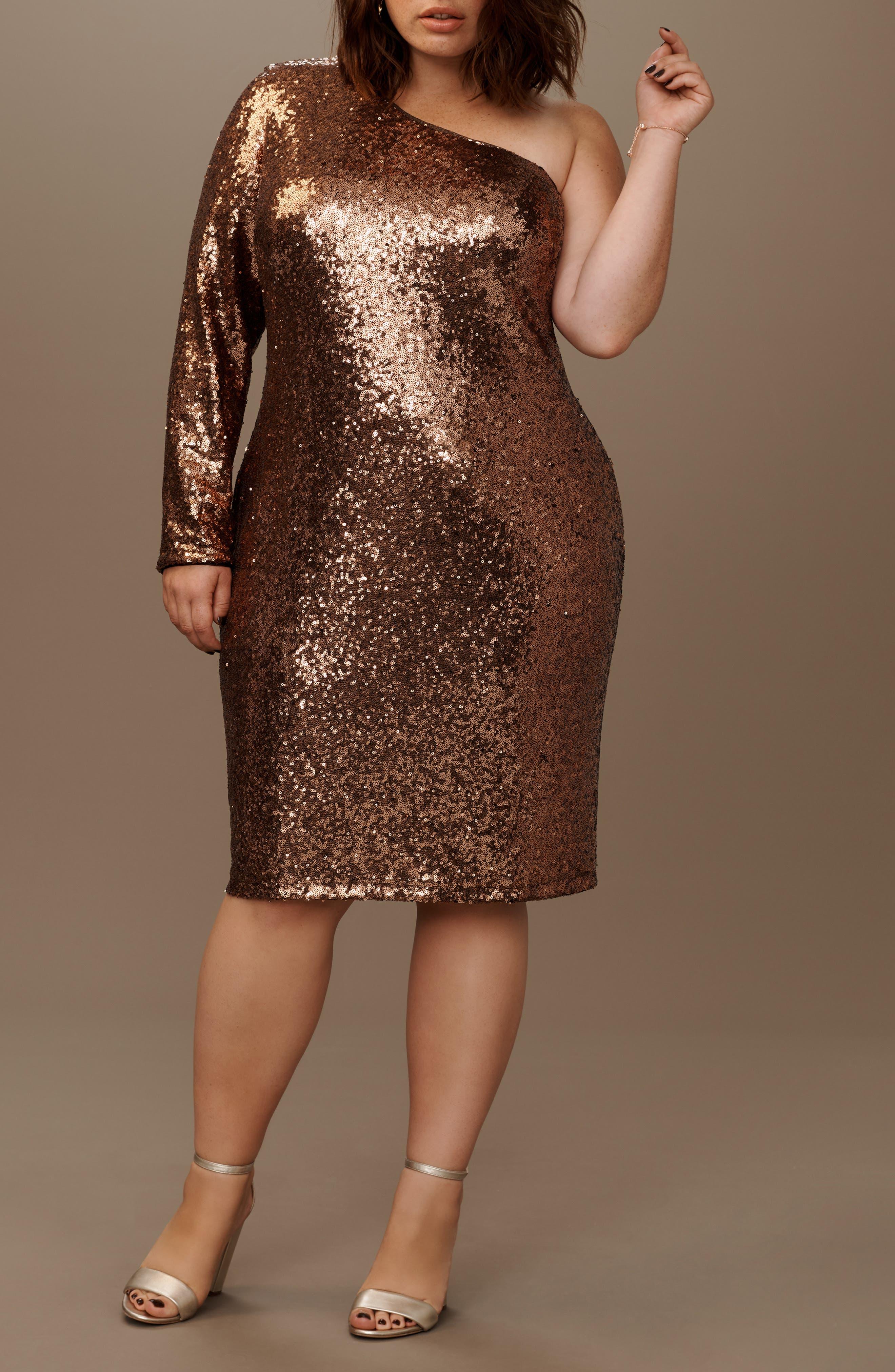One Shoulder Sequin Party Dress,                             Alternate thumbnail 6, color,                             COPPER
