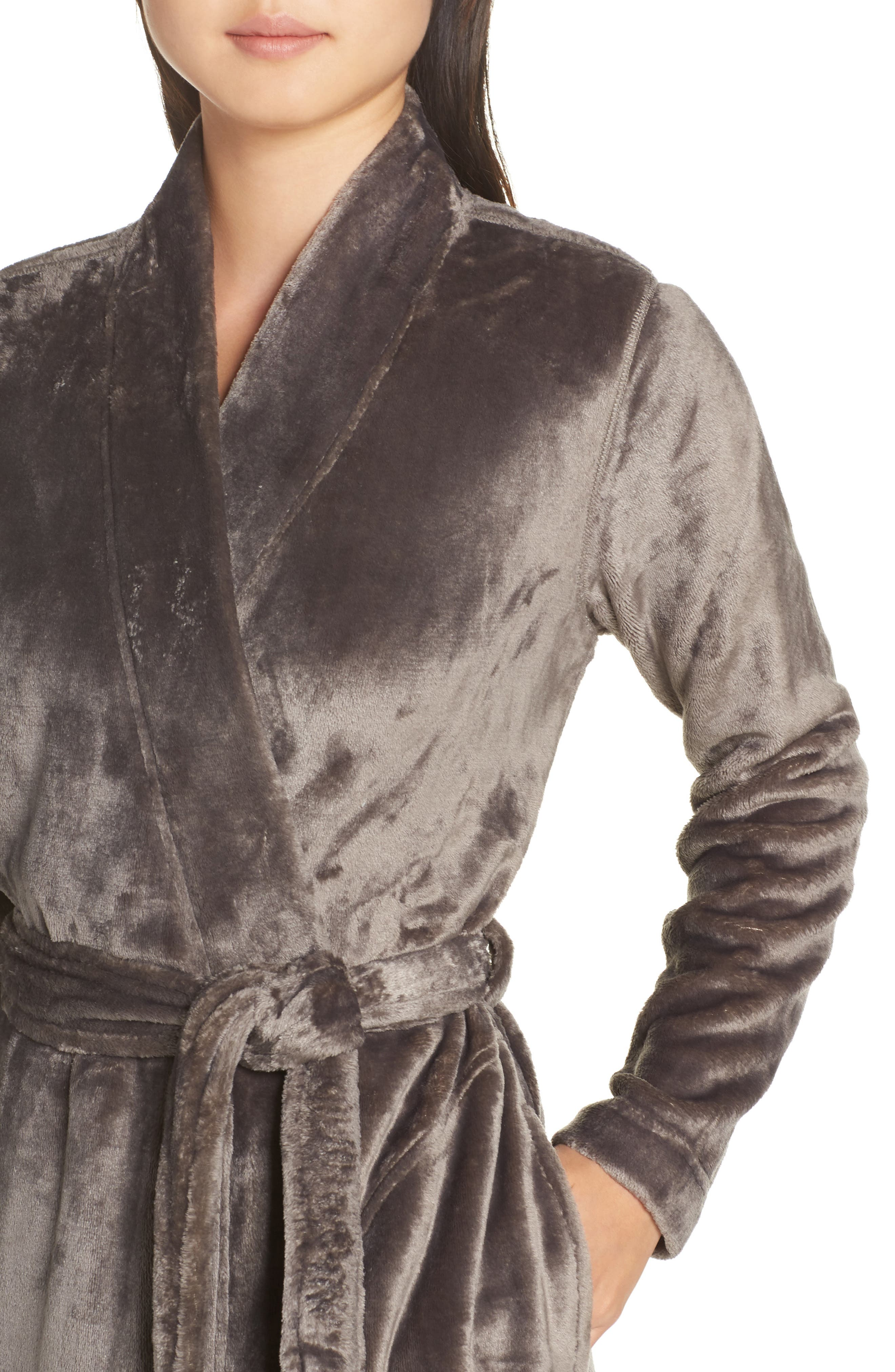 Marlow Double-Face Fleece Robe,                             Alternate thumbnail 4, color,                             CHARCOAL