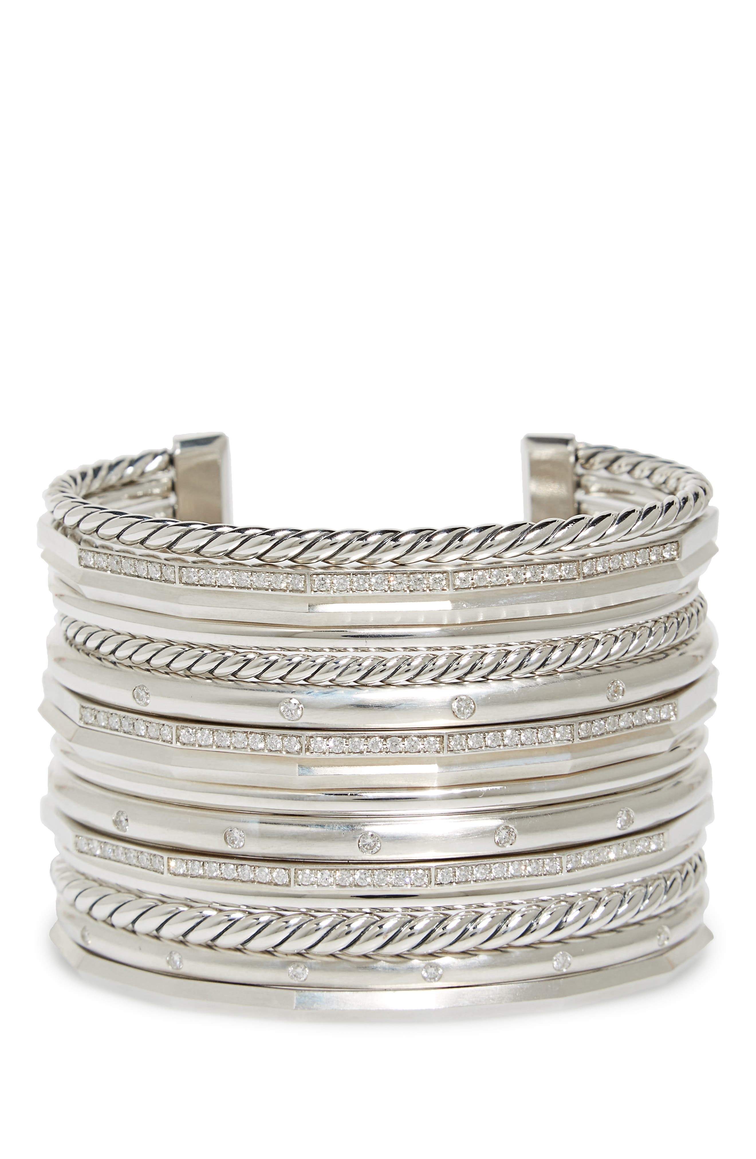 Stax Wide Cuff Bracelet with Diamonds, 54mm,                             Main thumbnail 1, color,                             SILVER