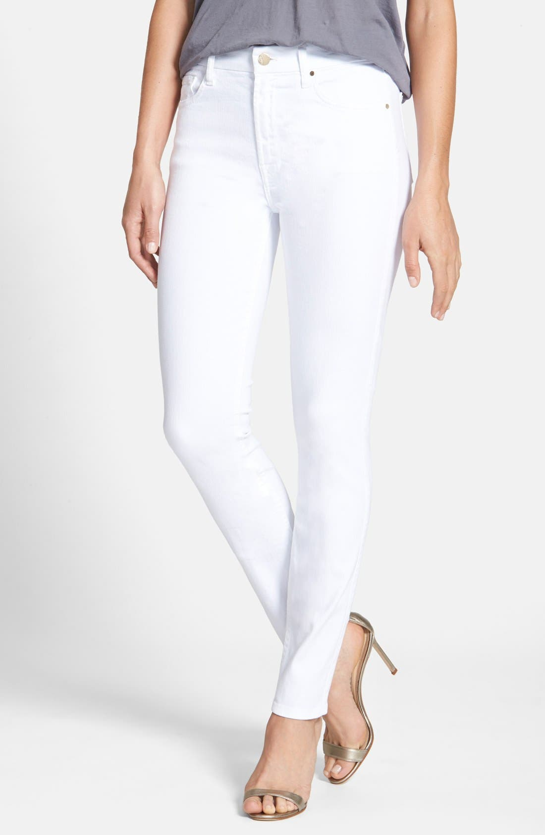 Stretch Skinny Jeans,                             Main thumbnail 1, color,                             WHITE DENIM
