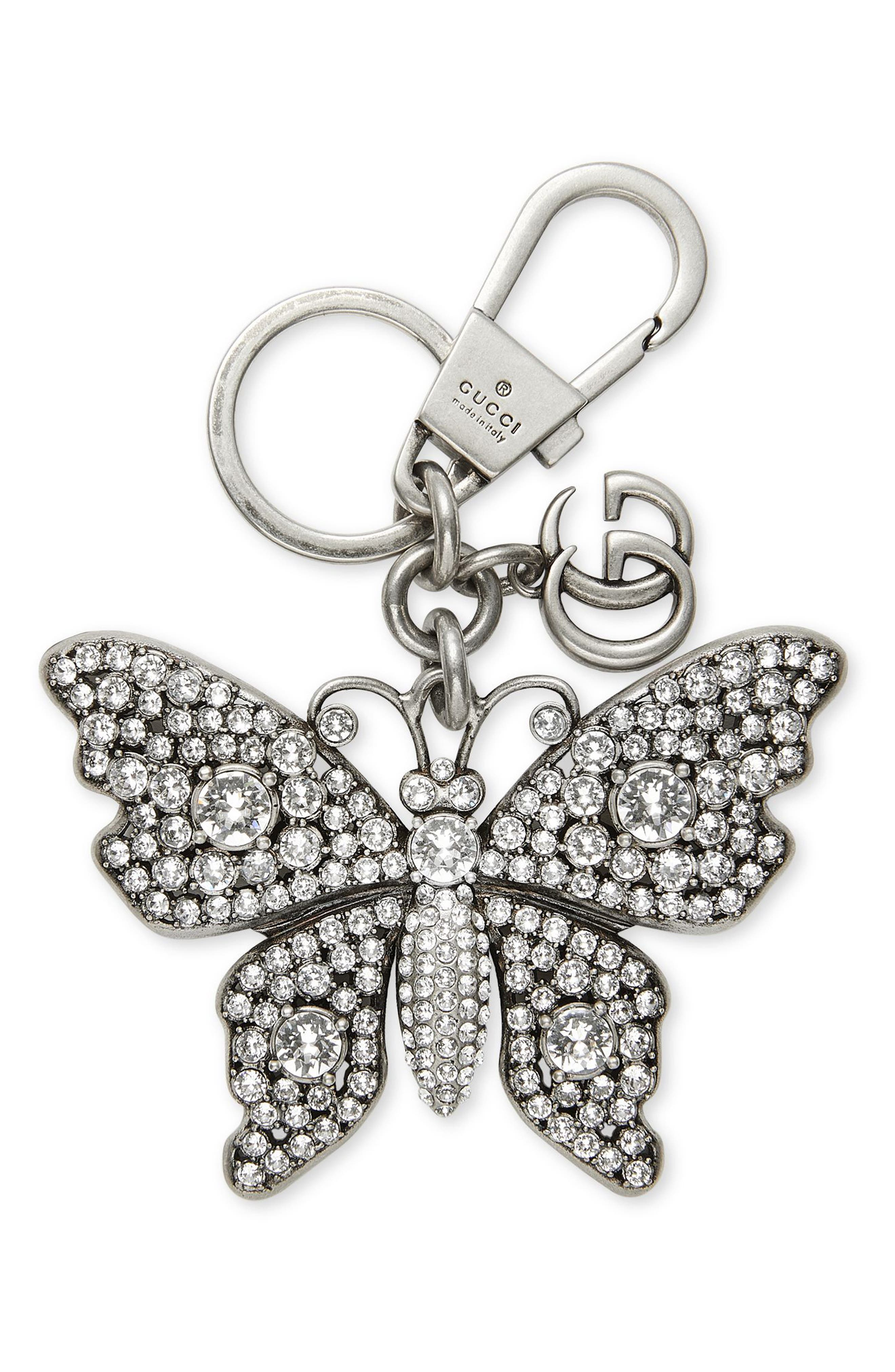 GUCCI,                             Crystal Butterfly Bag Charm,                             Main thumbnail 1, color,                             047