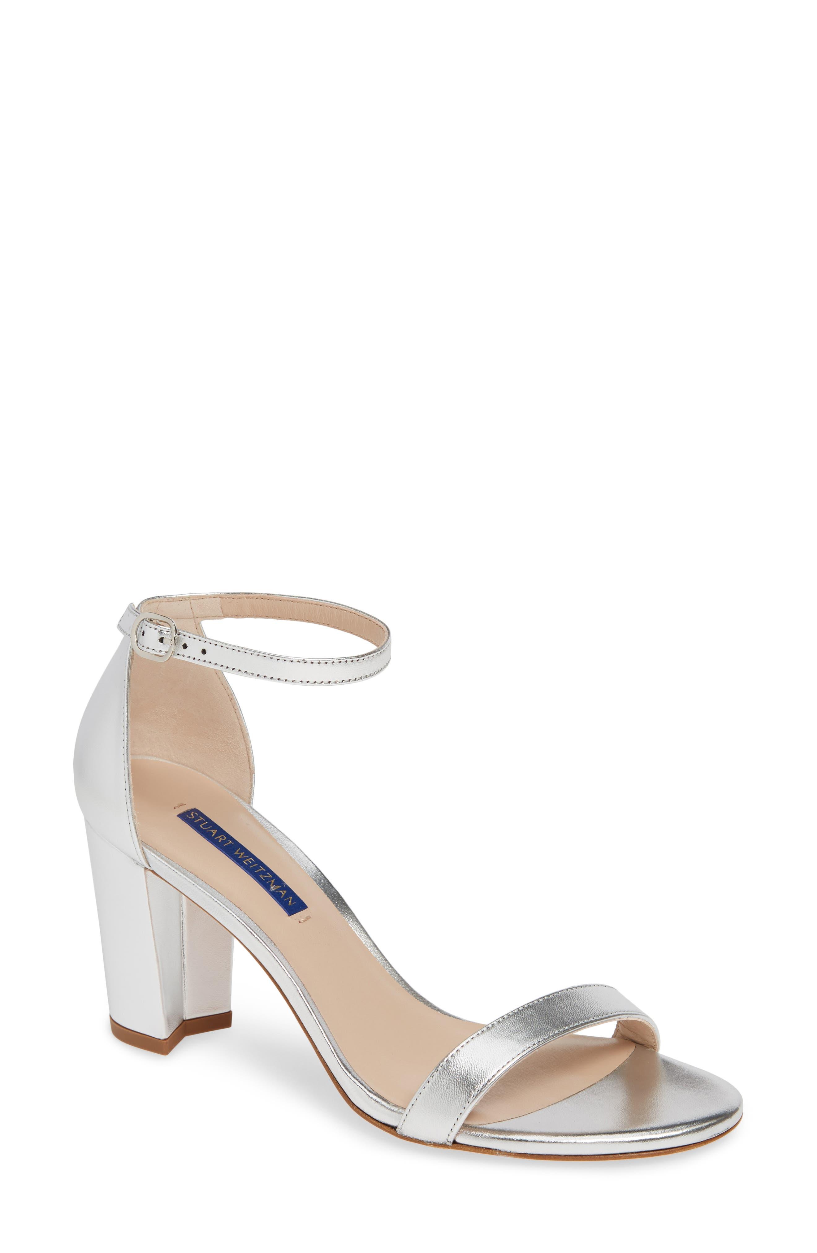 STUART WEITZMAN,                             NearlyNude Ankle Strap Sandal,                             Main thumbnail 1, color,                             SILVER METALLIC NAPPA