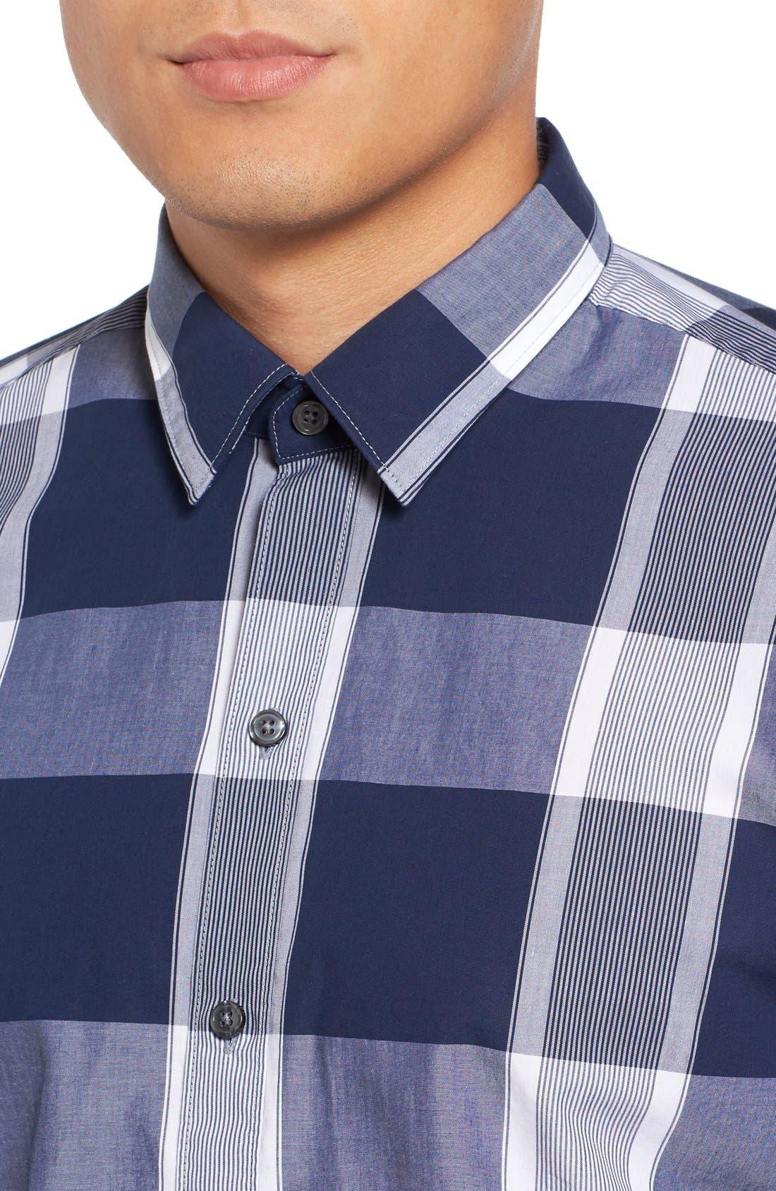 Trim Fit Check Sport Shirt,                             Alternate thumbnail 4, color,
