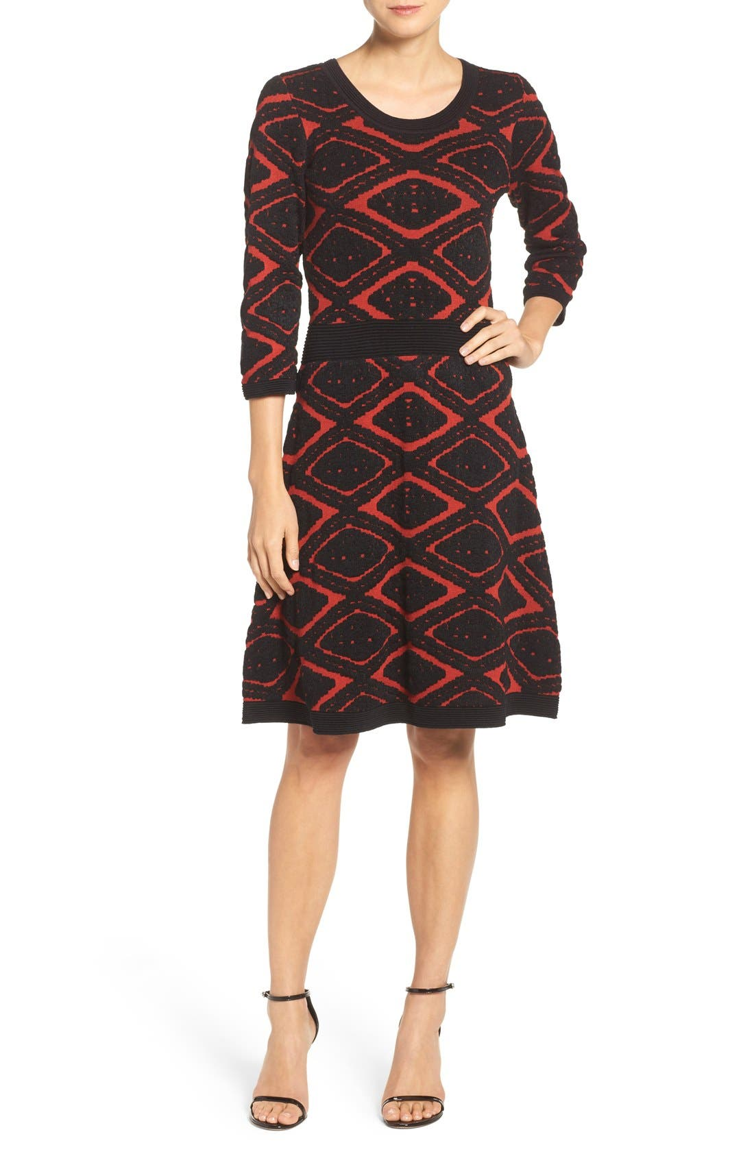 Sweater Fit & Flare Dress,                             Main thumbnail 1, color,                             006