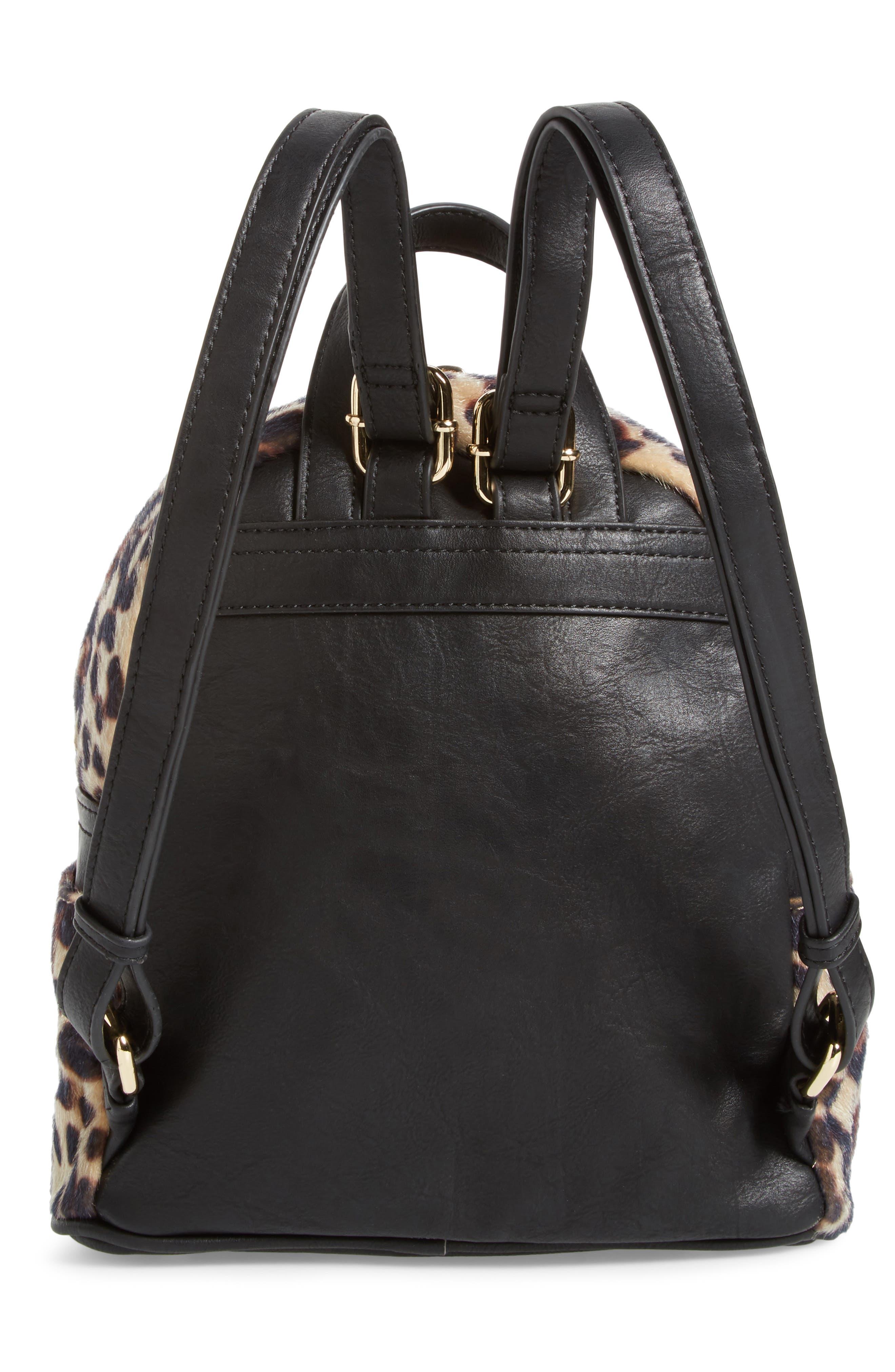Leopard Print Faux Fur Backpack,                             Alternate thumbnail 3, color,                             200