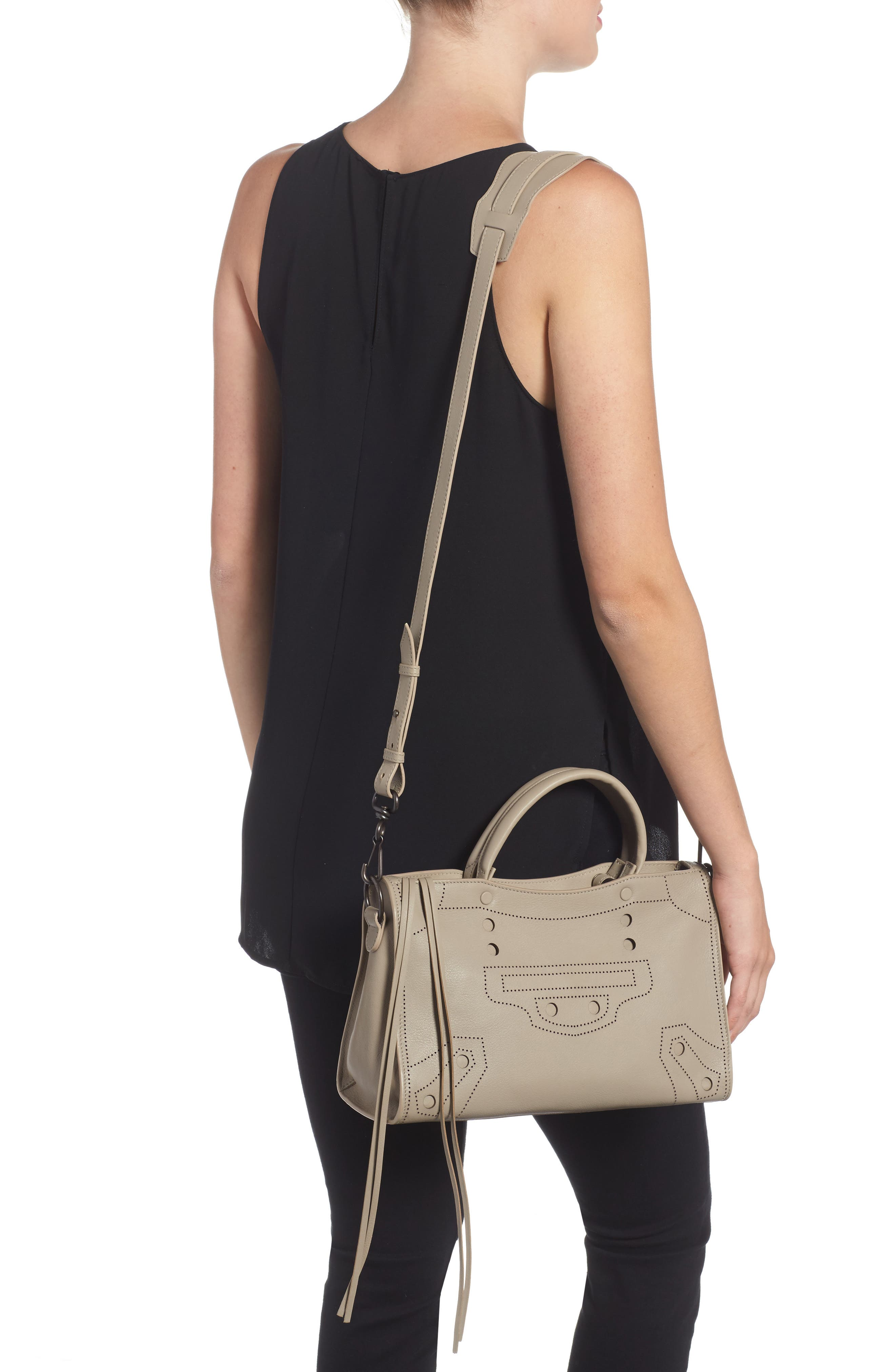 Small Blackout City Leather Tote,                             Alternate thumbnail 2, color,                             025