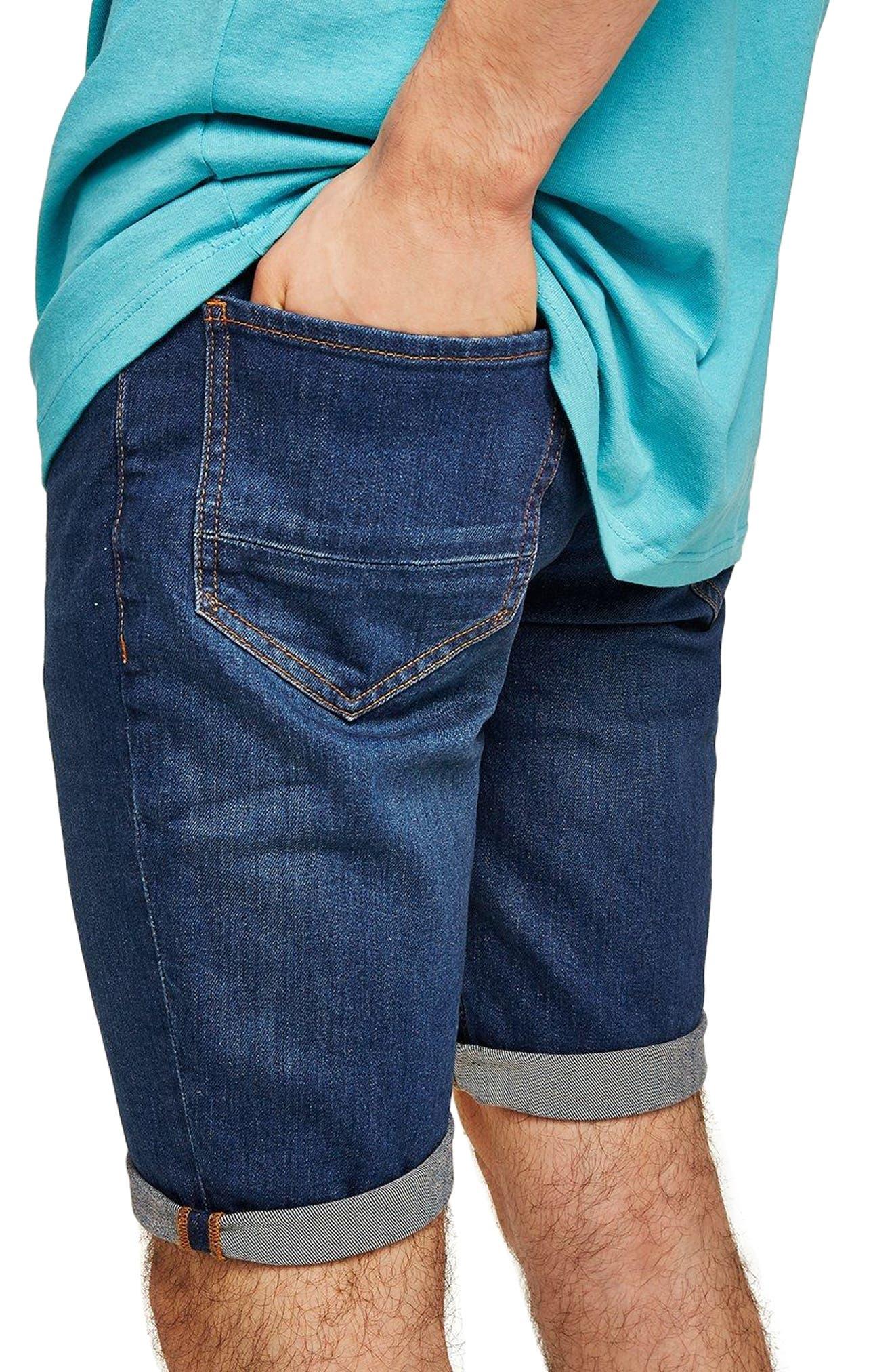 Skinny Fit Denim Shorts,                             Alternate thumbnail 3, color,                             BLUE