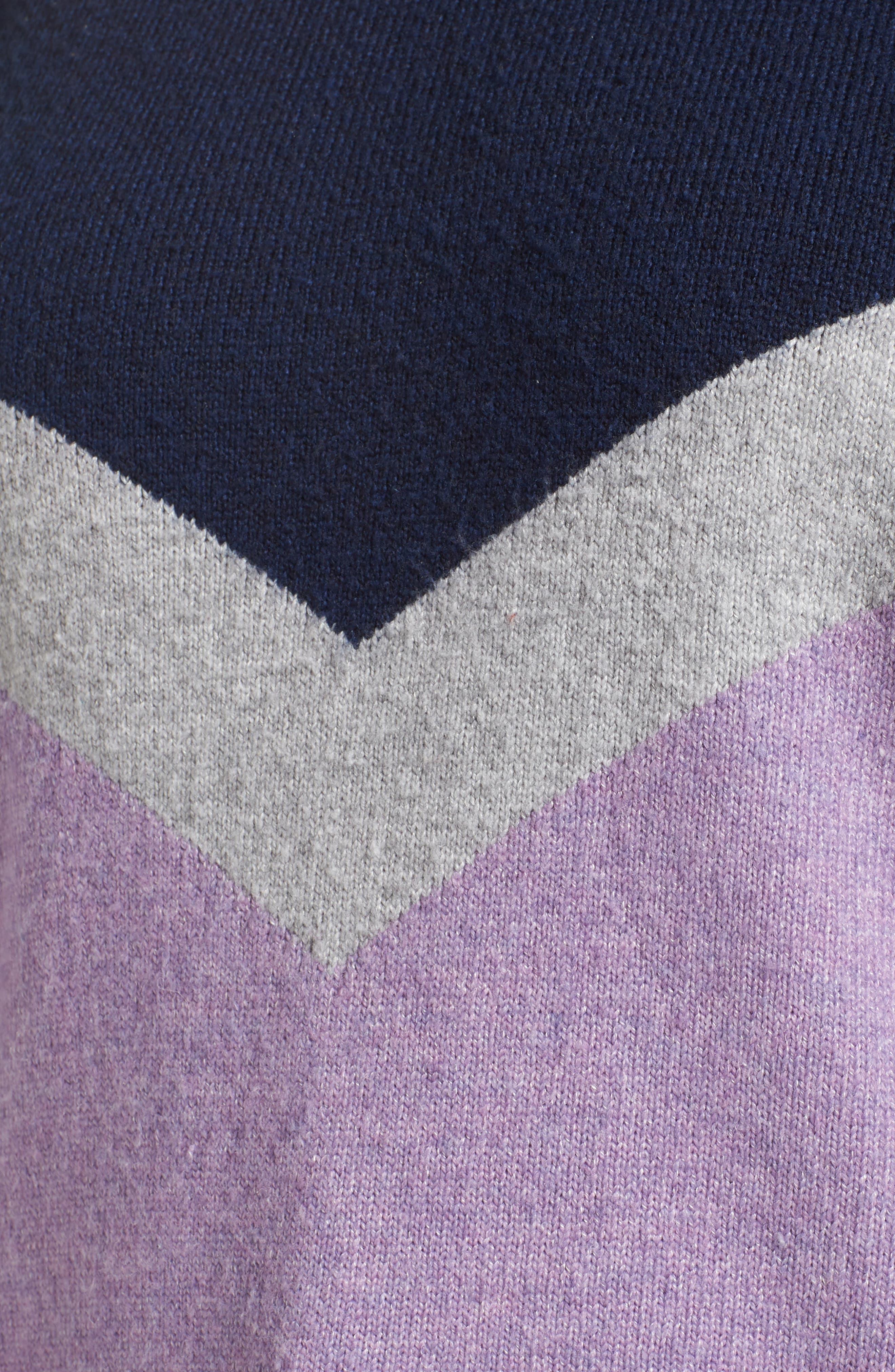 Chevron Stripe Sweater,                             Alternate thumbnail 5, color,                             PURPLE WAVE CHALET