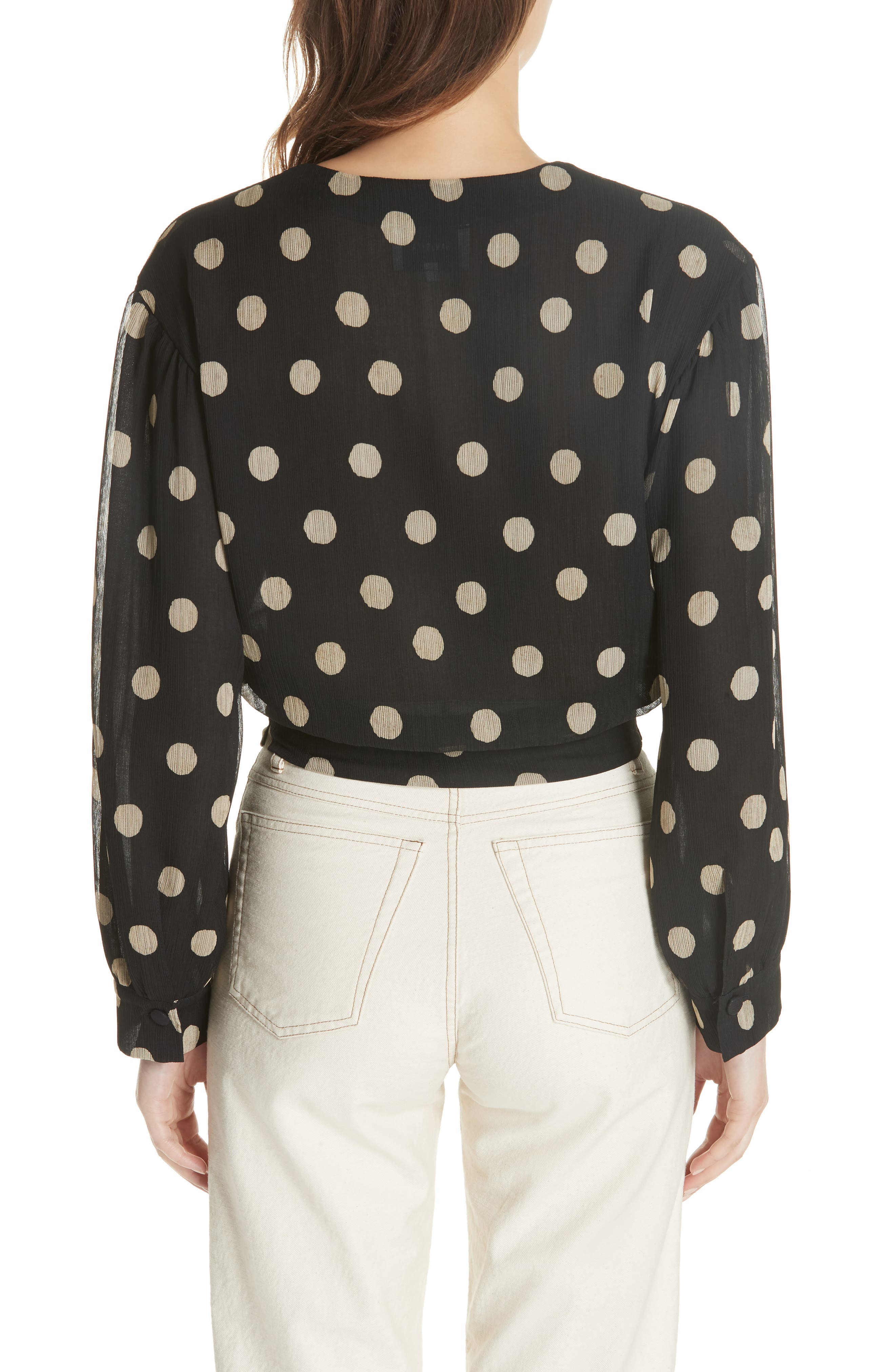 NANUSHKA,                             Amulet Polka Dot Tech Chiffon Blouse,                             Alternate thumbnail 2, color,                             001