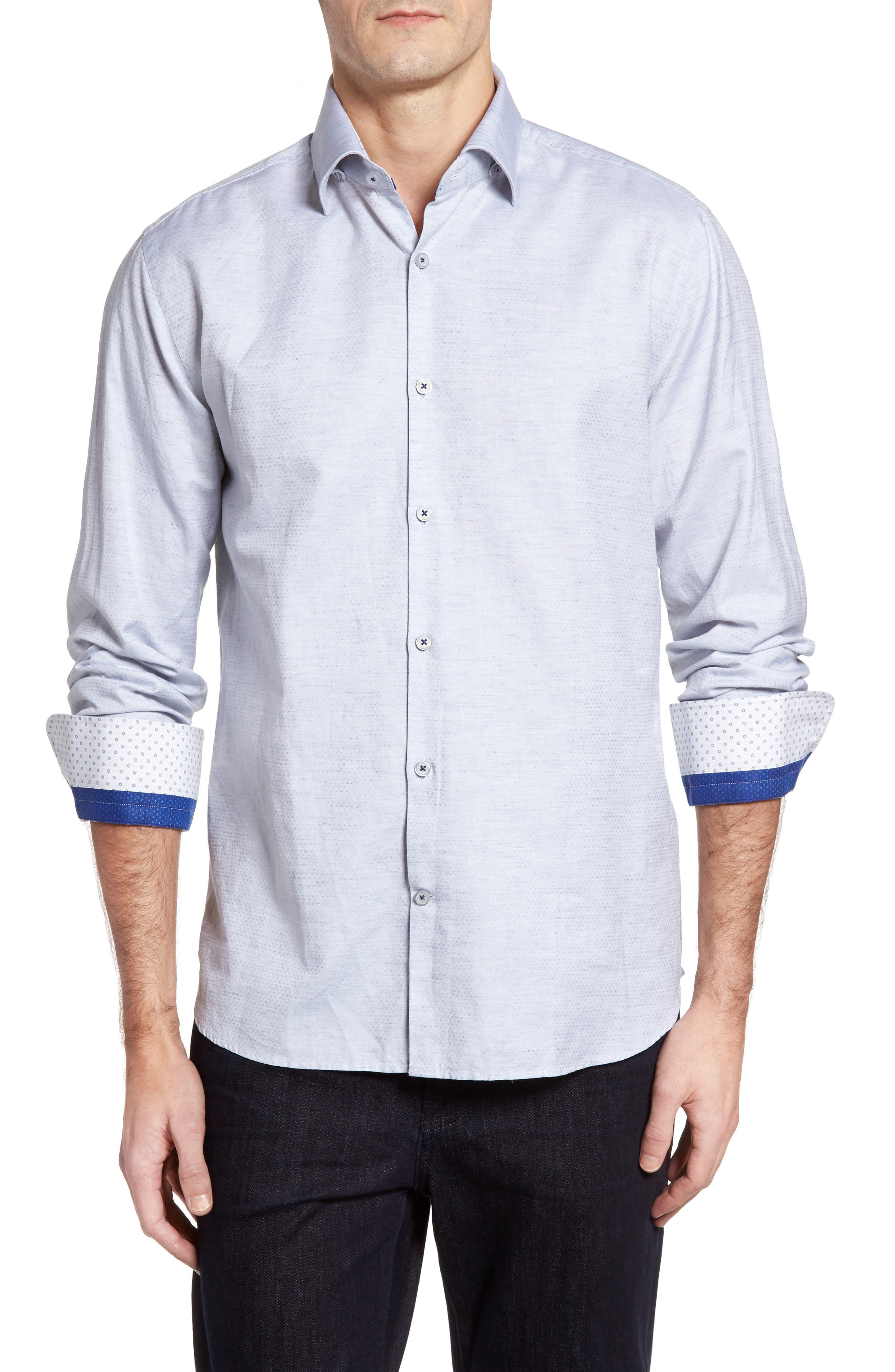 Dobby Cotton & Linen Sport Shirt,                             Main thumbnail 1, color,