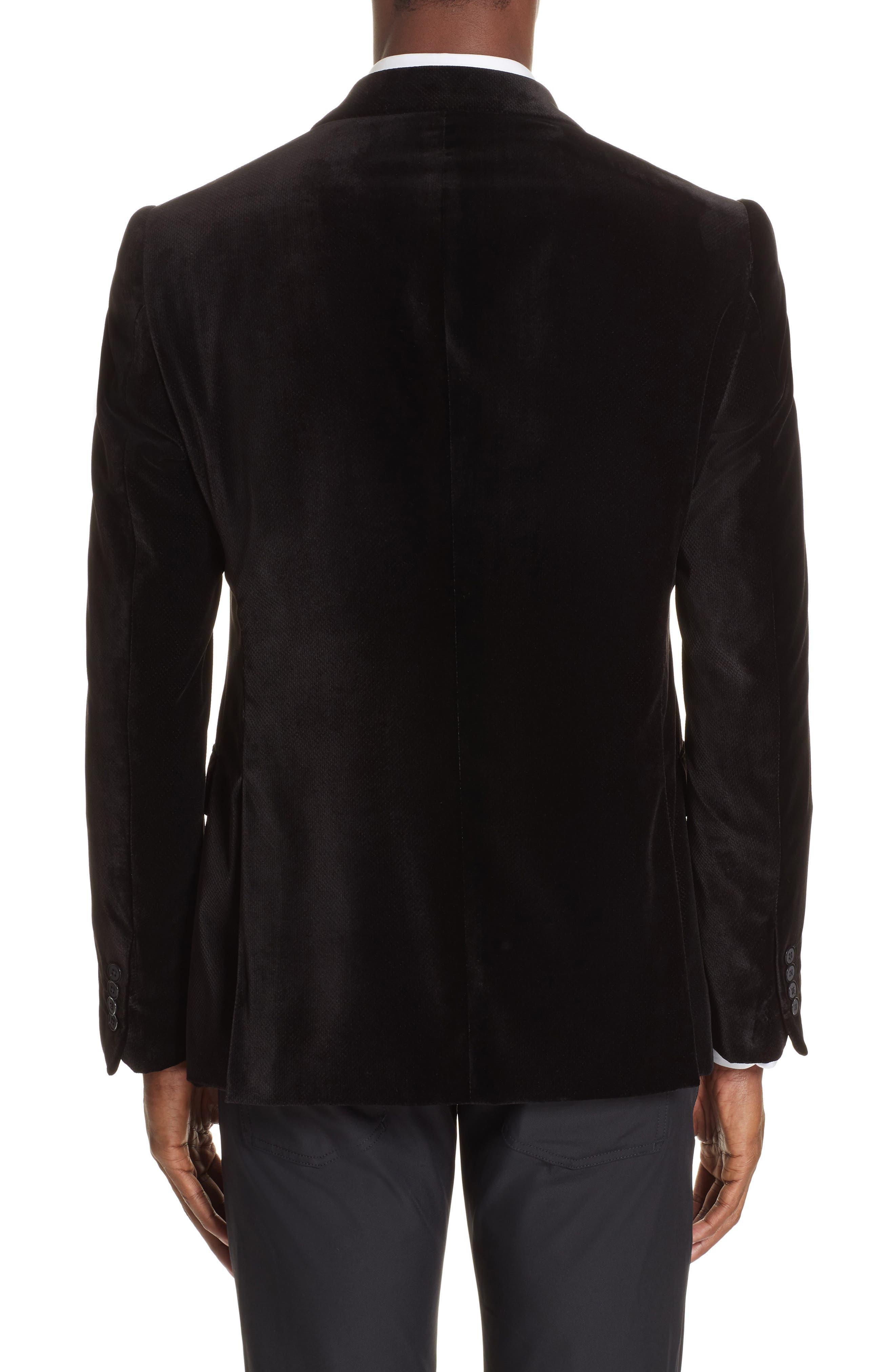 G-Line Trim Fit Velvet Blazer,                             Alternate thumbnail 2, color,                             BLACK