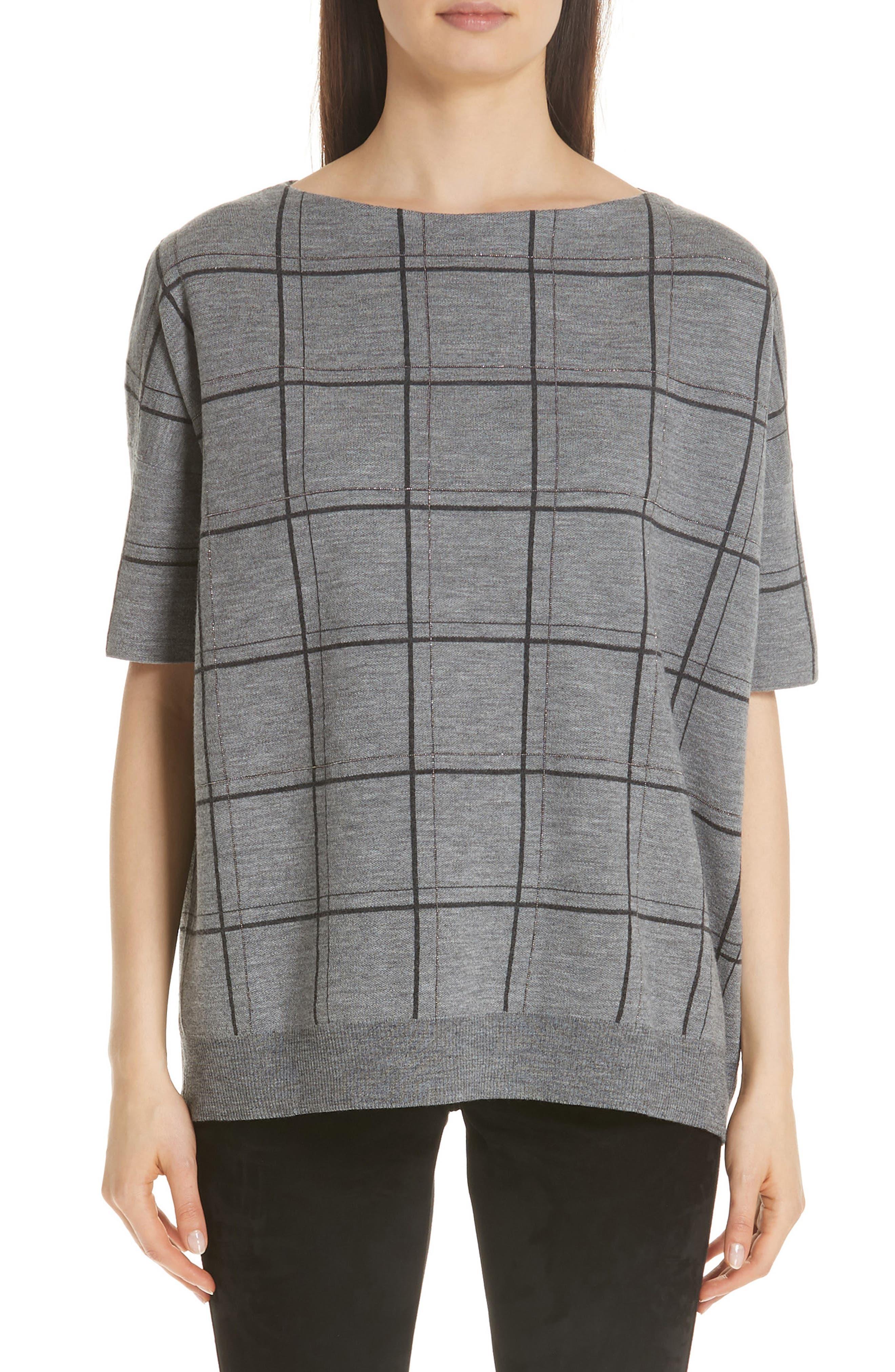 Boat-Neck Short-Sleeve Oversized Check Jacquard Sweater in Nickel Multi