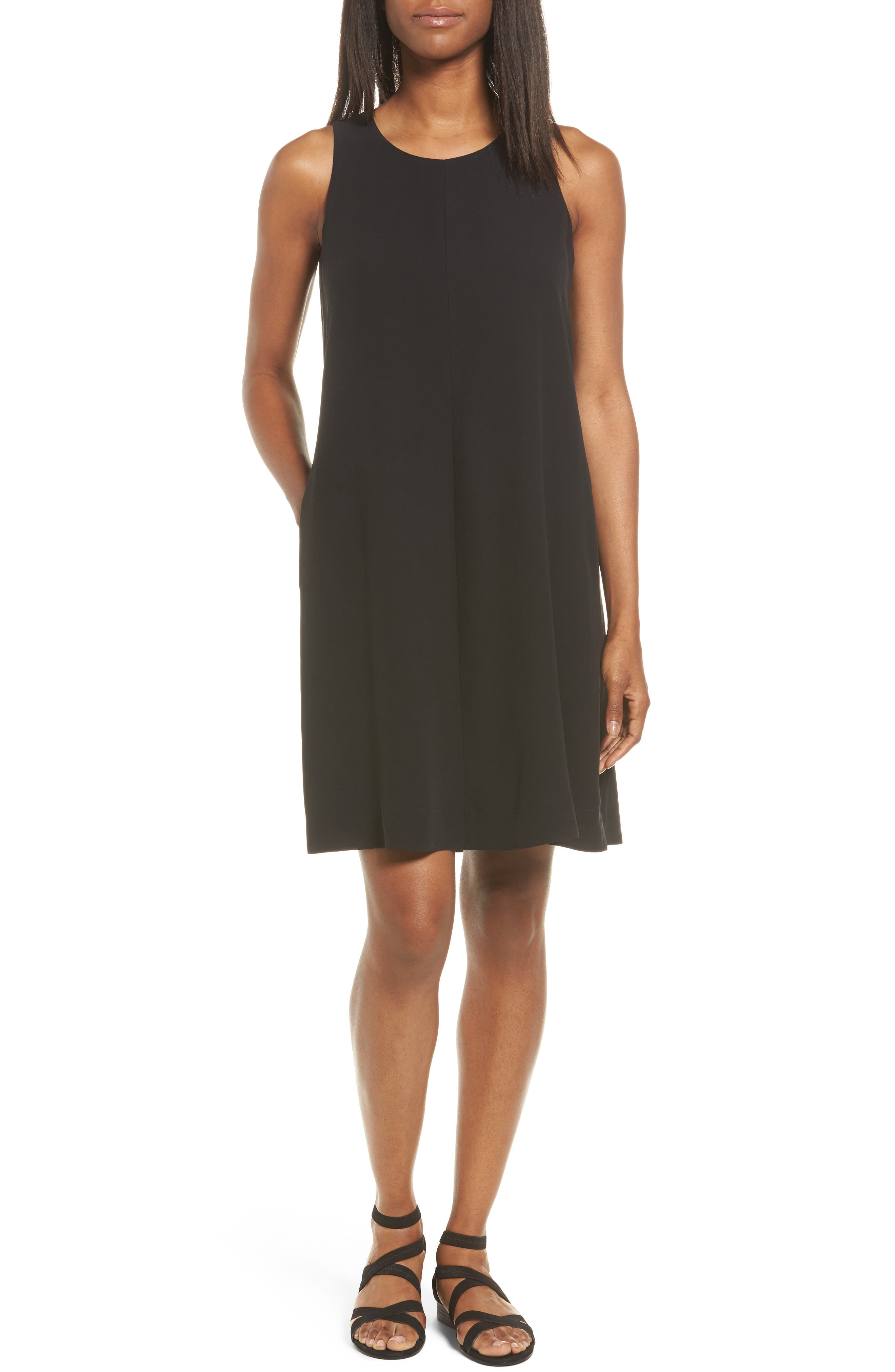 Silk A-Line Dress,                             Main thumbnail 1, color,                             001