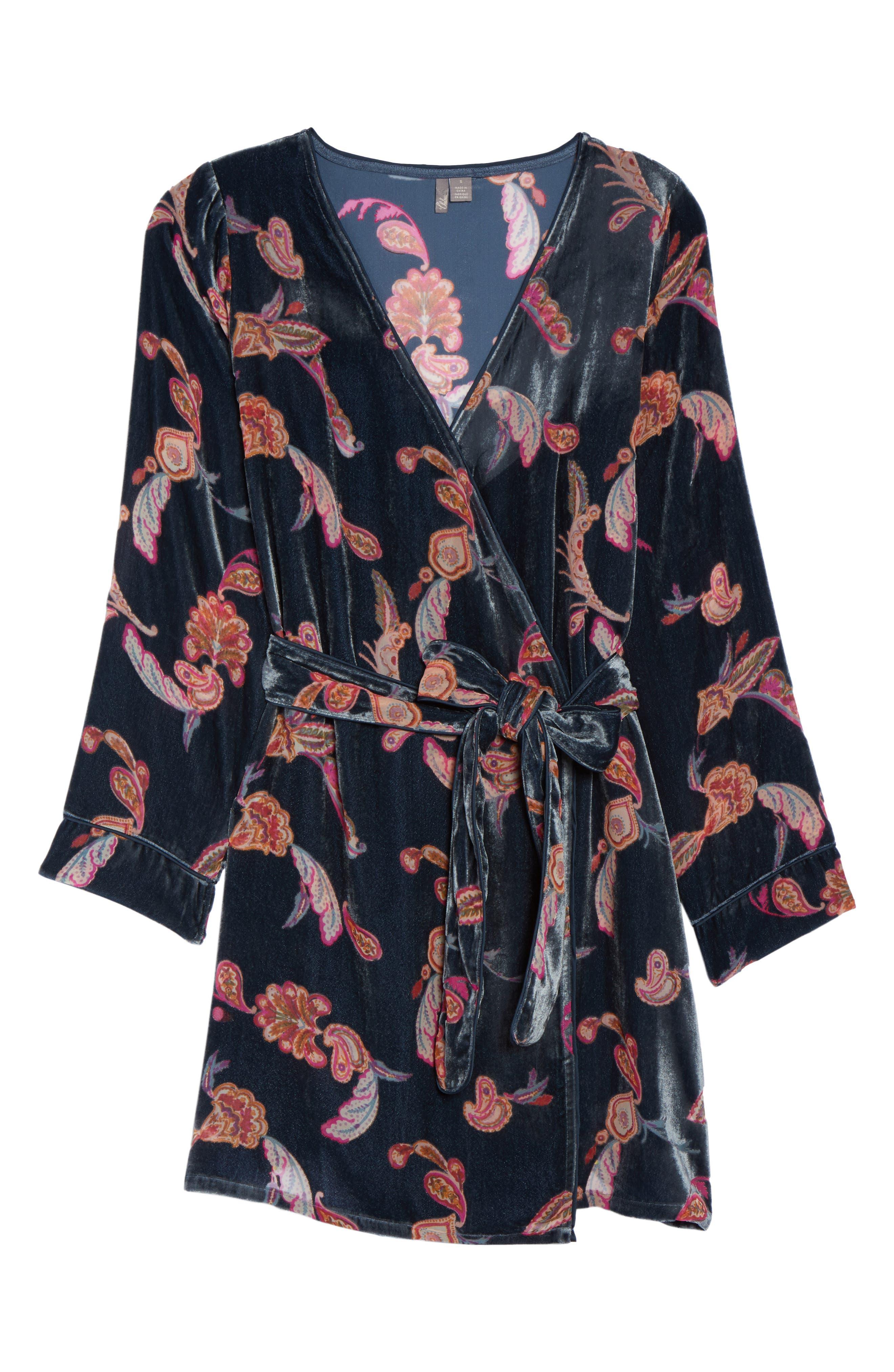 Velvet Short Robe,                             Alternate thumbnail 6, color,                             410