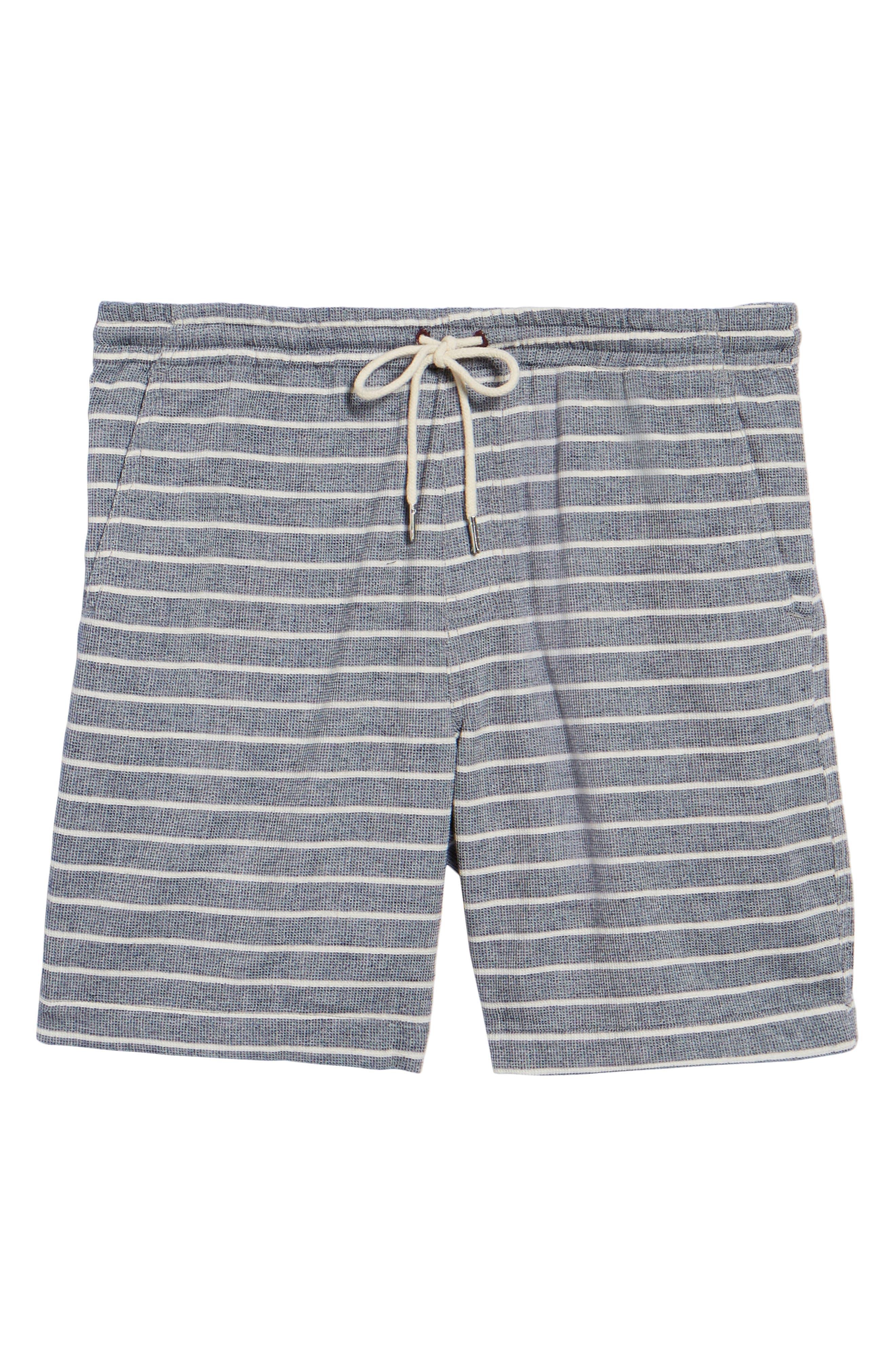 Steve Stripe Pull-On Shorts,                             Alternate thumbnail 6, color,                             BLUE / WHITE