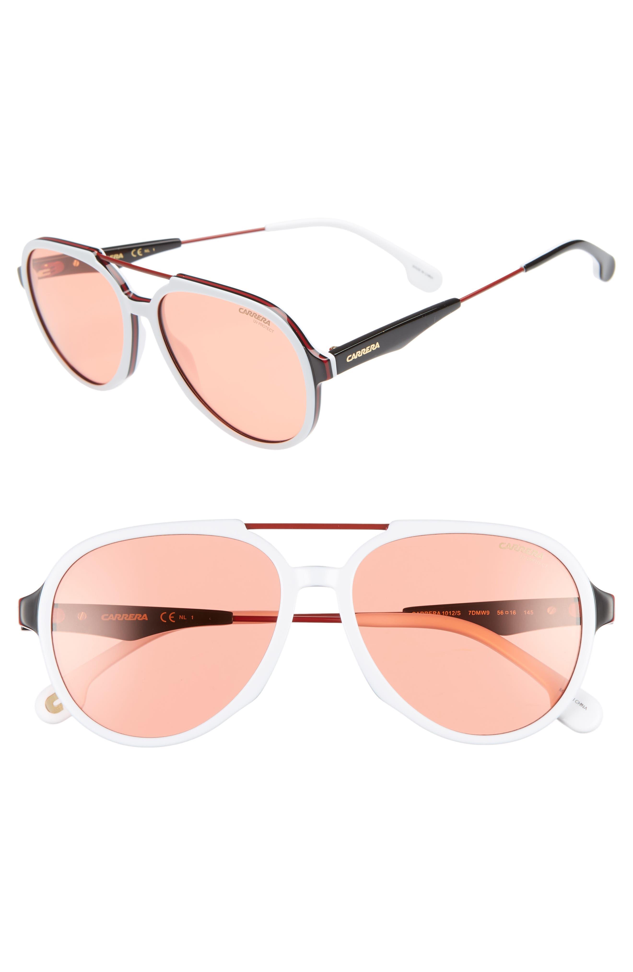 Carrera Eyewear 5m Aviator Sunglasses - White/red