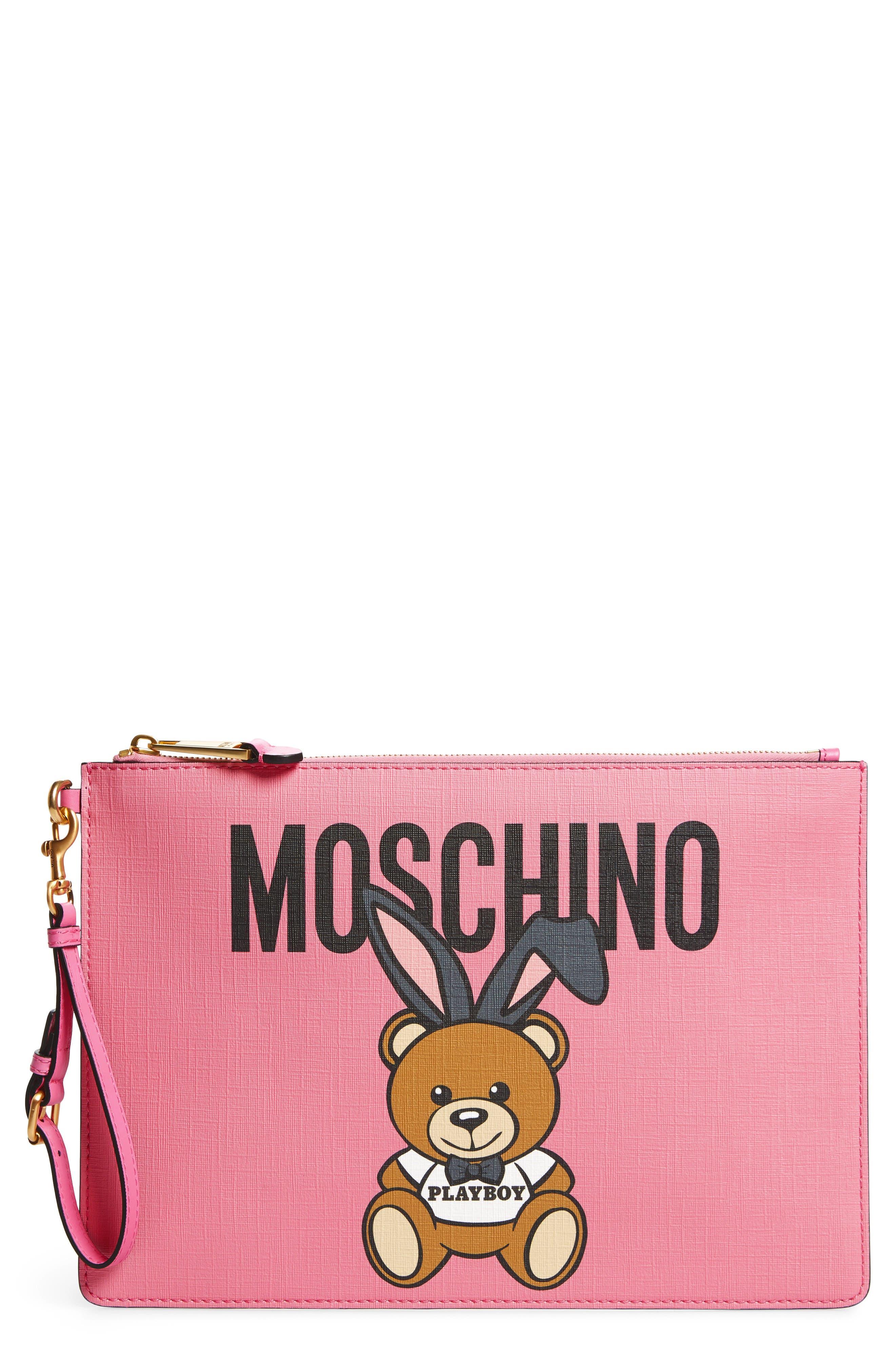 x Playboy Bunny Bear Leather Pouch,                         Main,                         color, 699