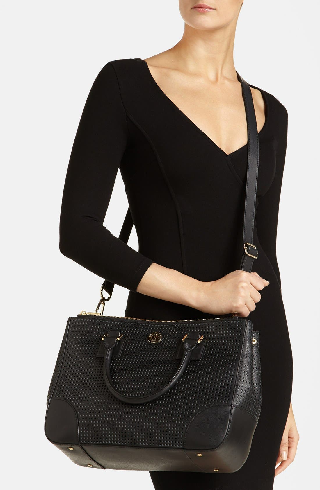 'Robinson' Double Zip Perforated Leather Tote,                             Alternate thumbnail 4, color,                             001