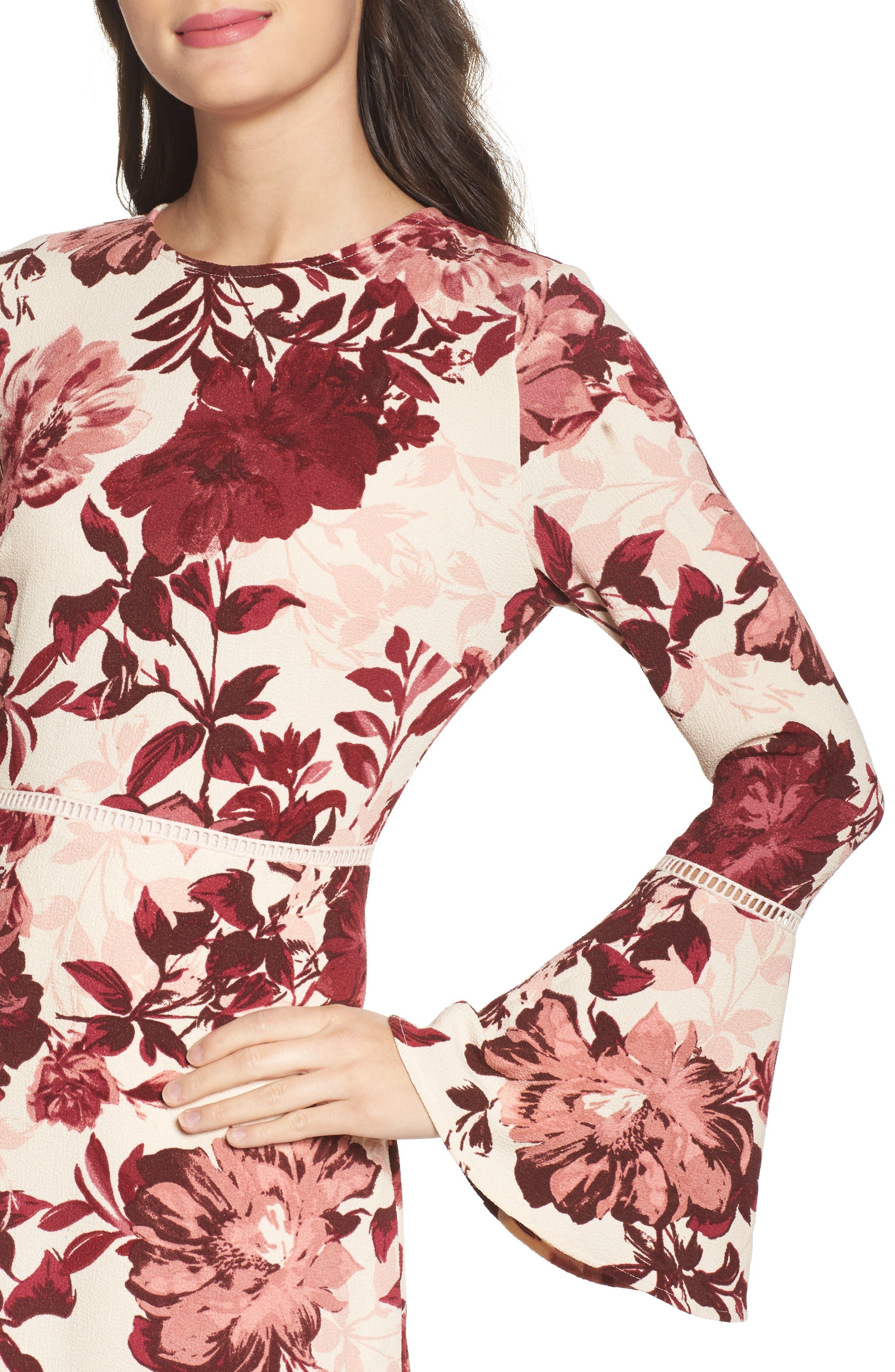 Bell Sleeve Minidress,                             Alternate thumbnail 4, color,                             658