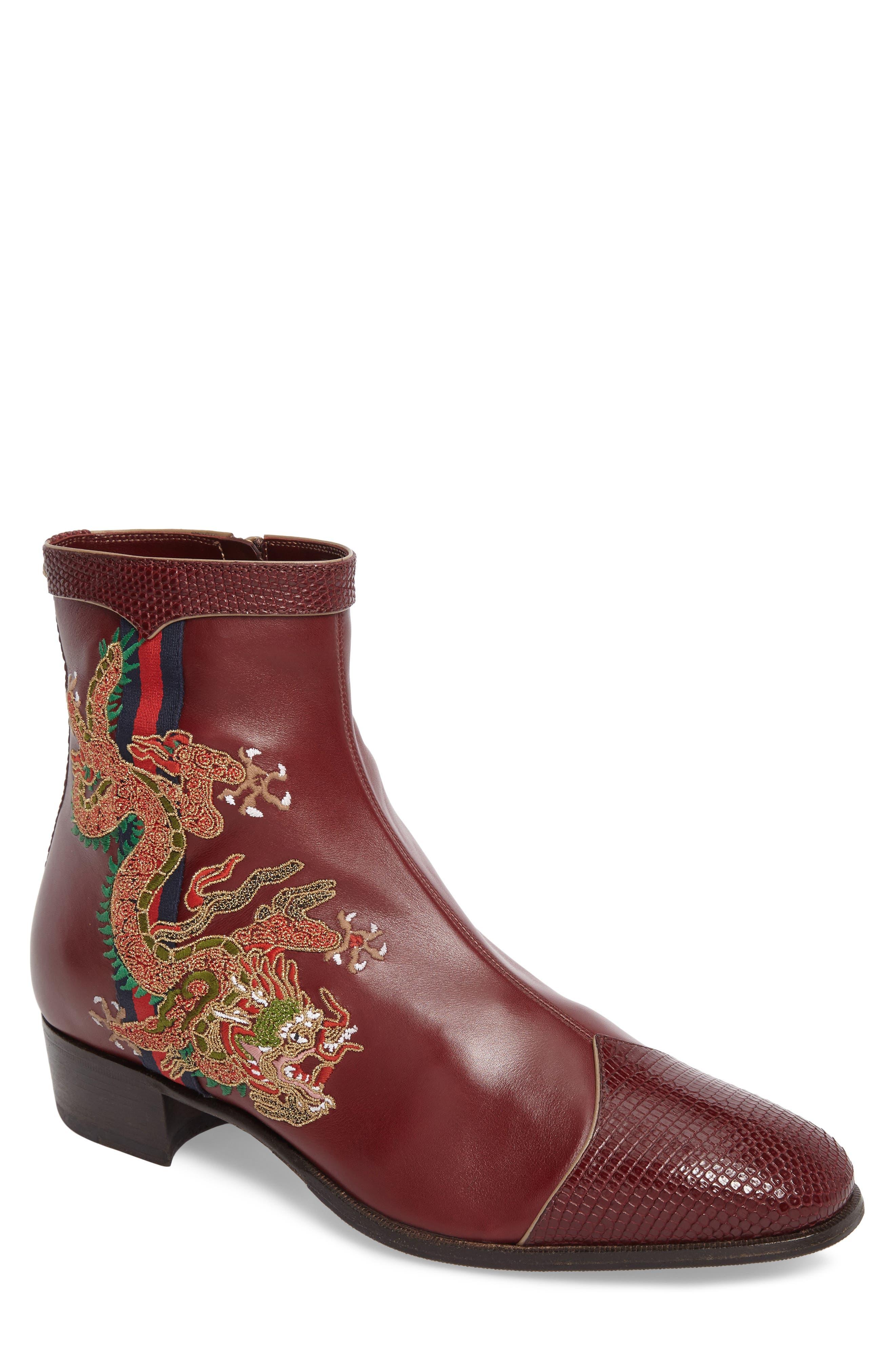 Dragon Leather Boot,                             Main thumbnail 1, color,                             BORDEAUX