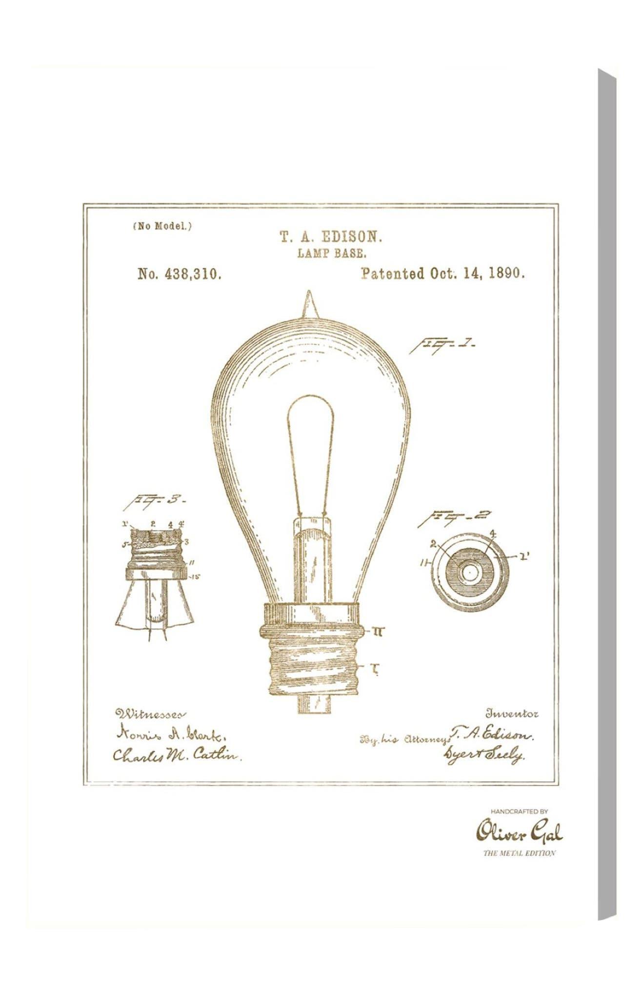 Edison Lamp Base 1890 Canvas Print,                             Alternate thumbnail 2, color,                             710