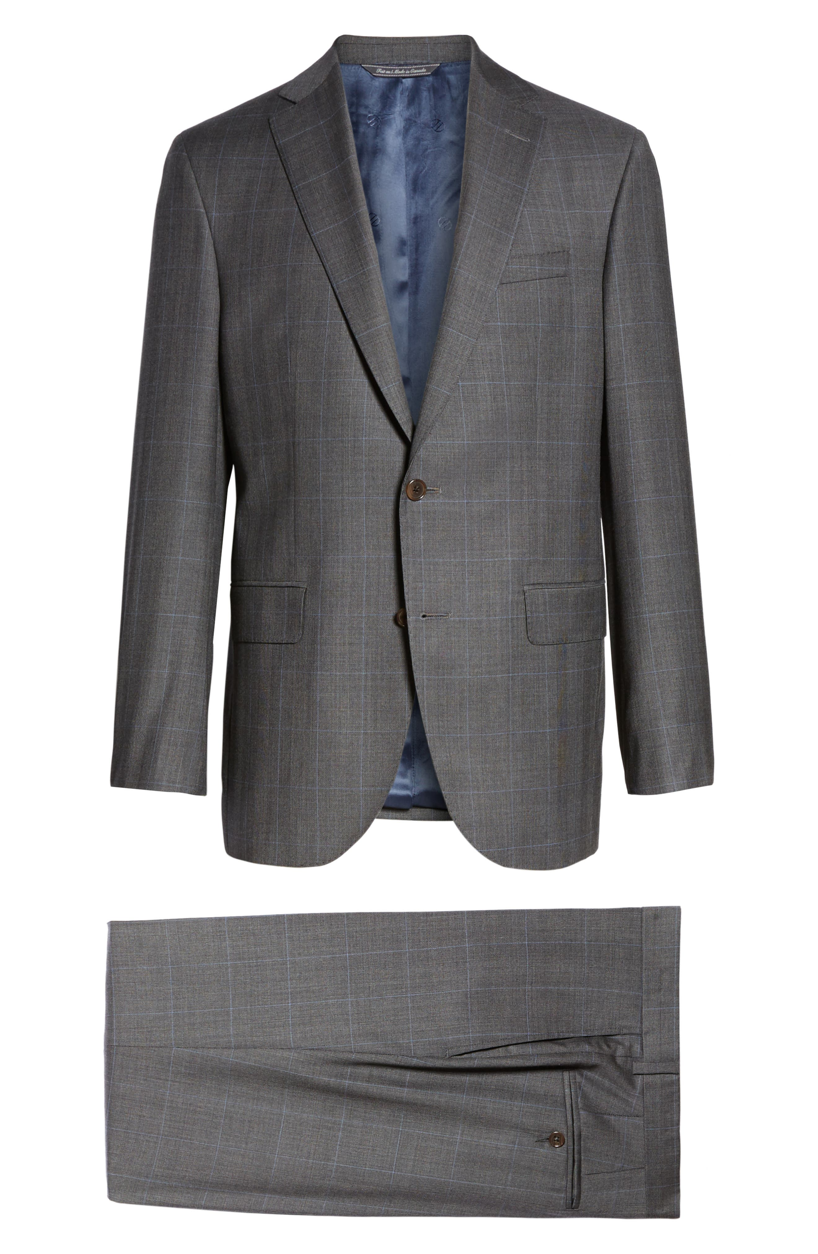 Ryan Classic Fit Solid Wool Suit,                             Alternate thumbnail 8, color,                             010