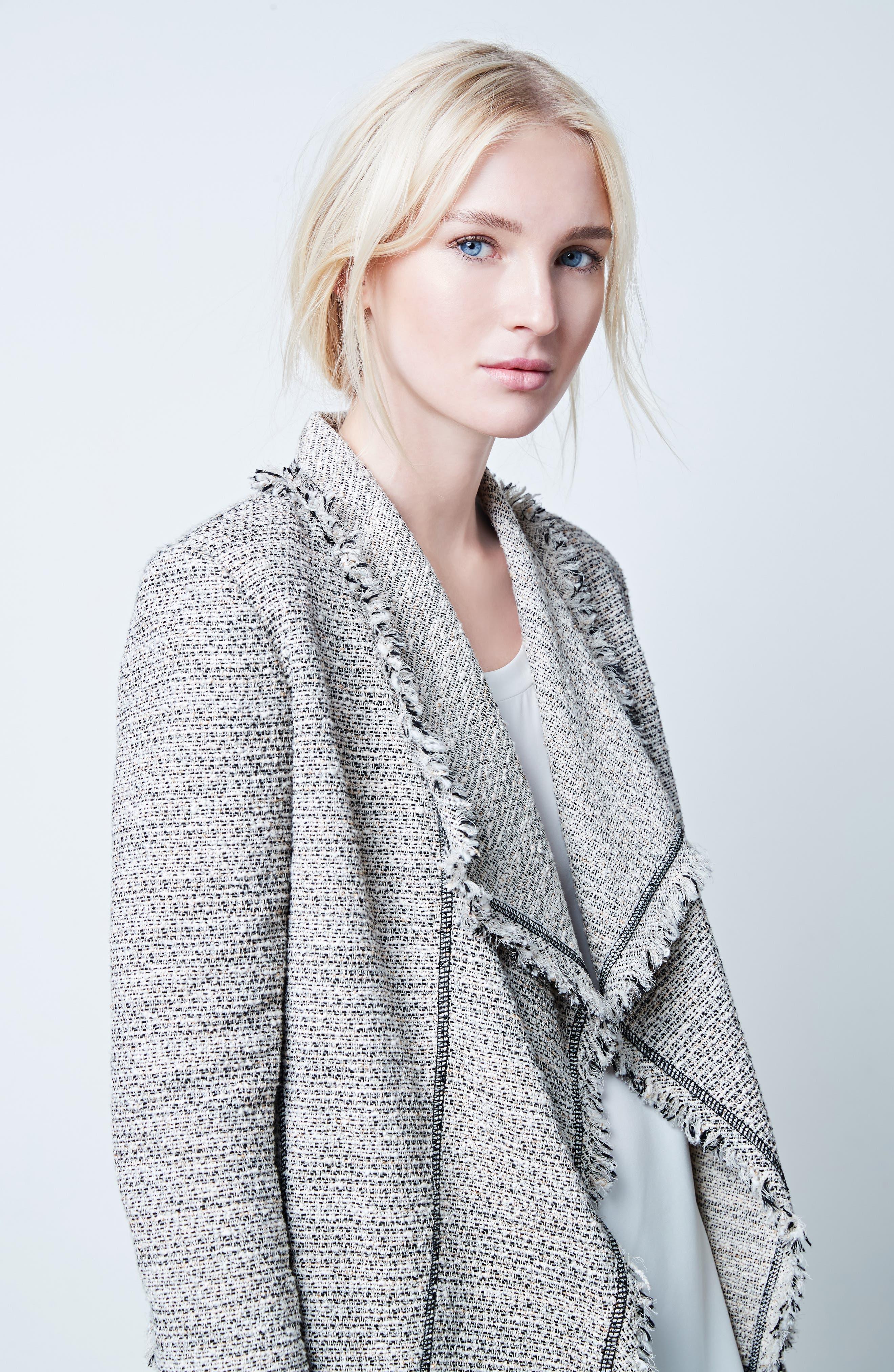 Eugena Drape Tweed Jacket,                             Alternate thumbnail 8, color,                             255