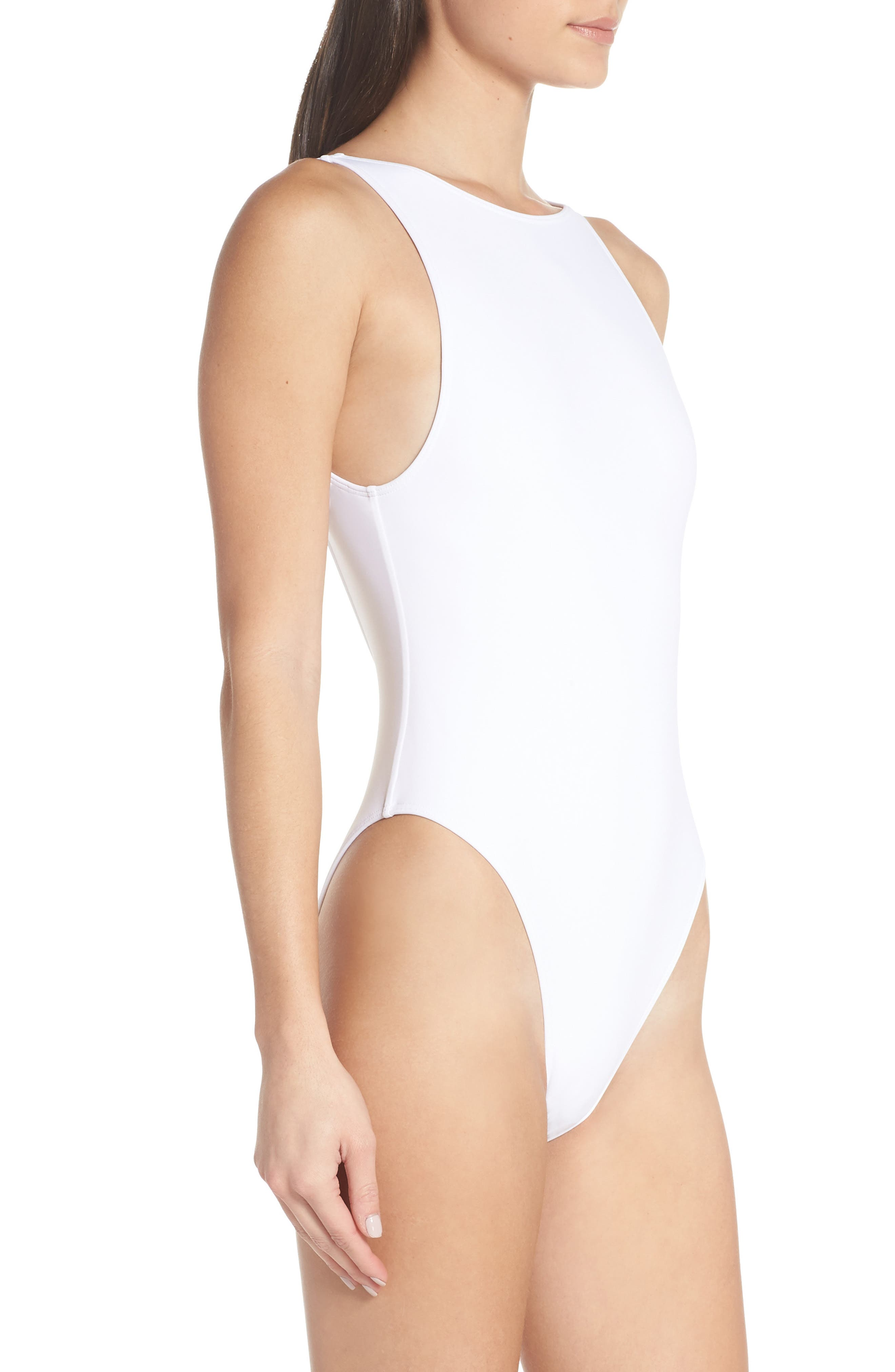 SOMETHING NAVY,                             Low Back One-Piece Swimsuit,                             Alternate thumbnail 2, color,                             WHITE