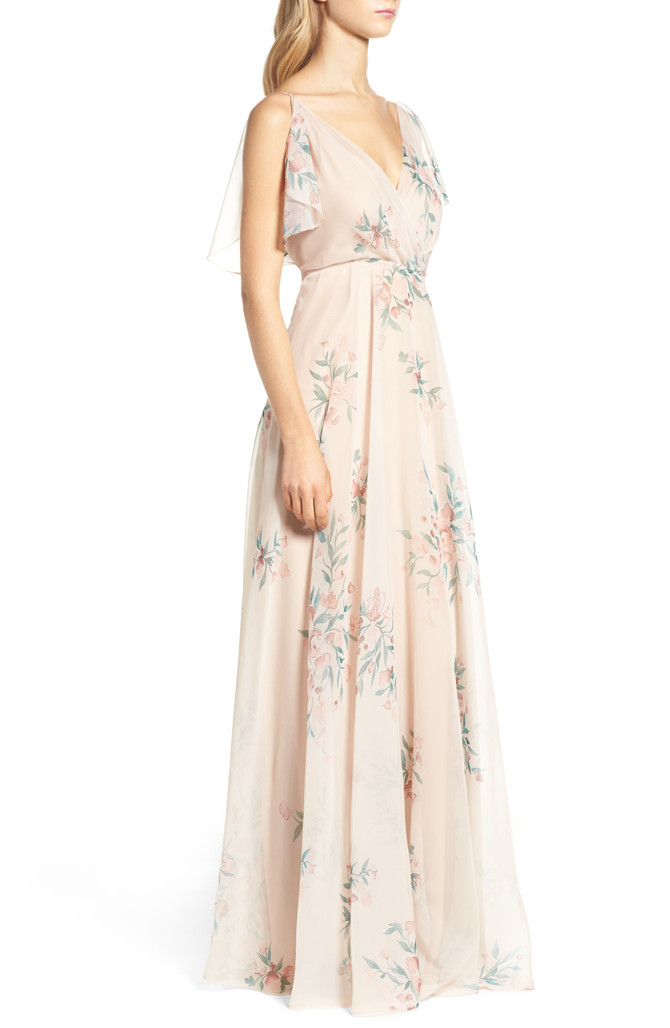 Cassie Flutter Sleeve Surplice Gown,                             Alternate thumbnail 3, color,                             BLUSH CHAI