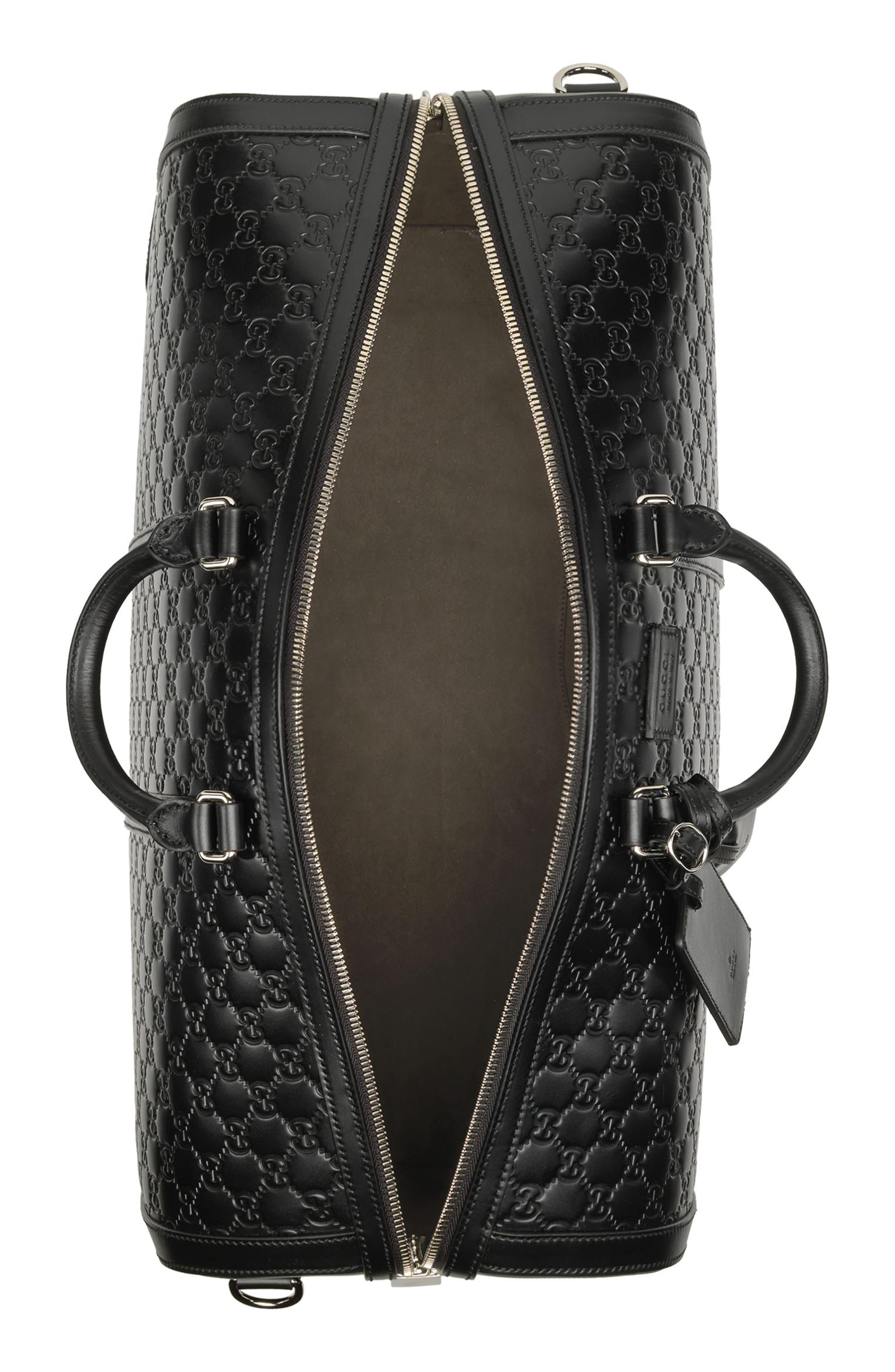 Signature Strap Leather Duffel,                             Alternate thumbnail 4, color,                             BLACK