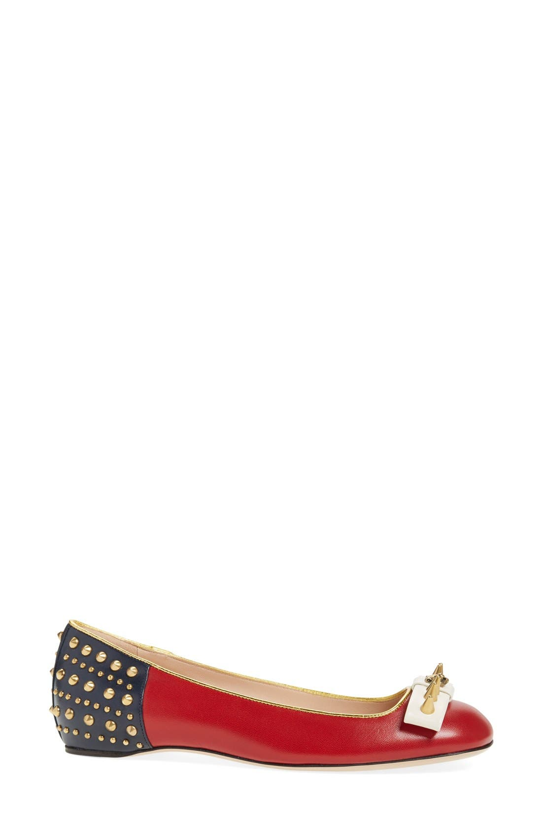 'Lexi' Studded Square Toe Flat,                             Alternate thumbnail 4, color,                             600