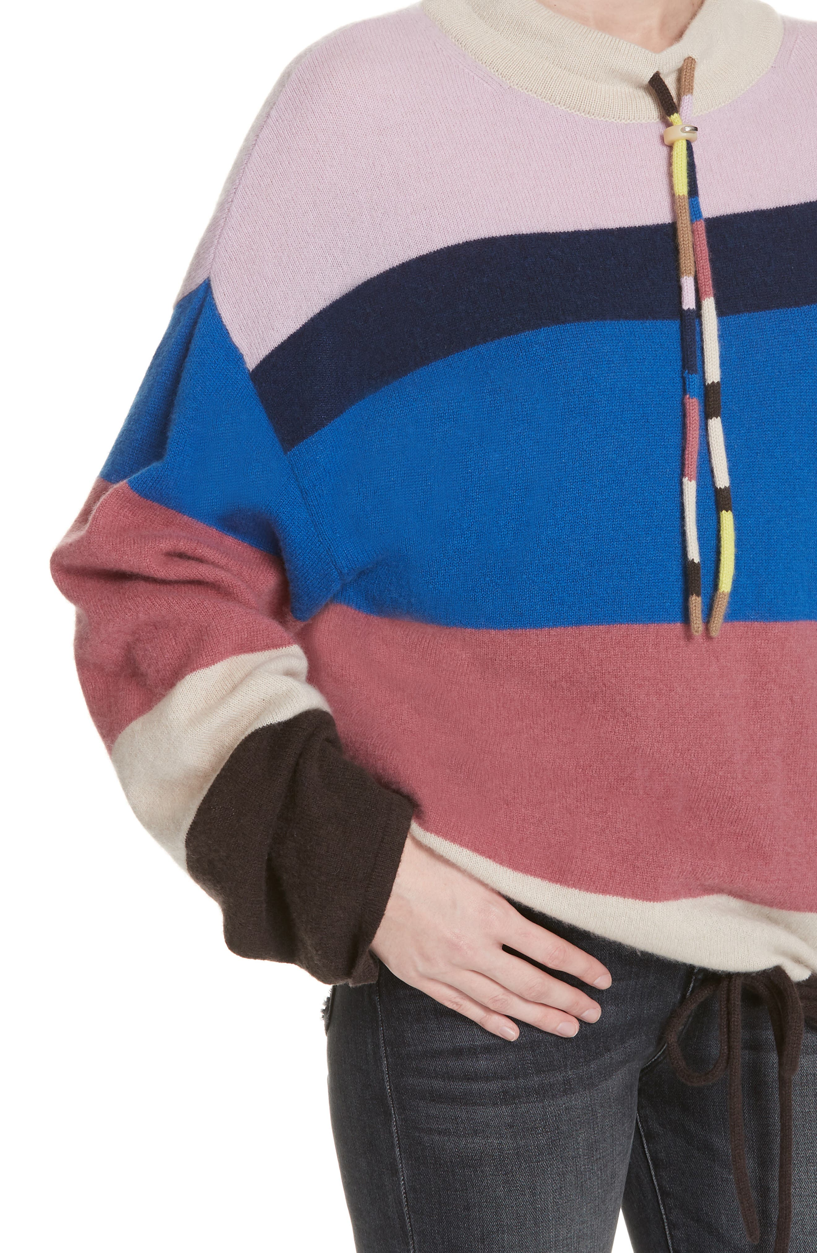 Stripe Mock Neck Cashmere Pullover,                             Alternate thumbnail 4, color,                             ROYAL BLUE MULTI