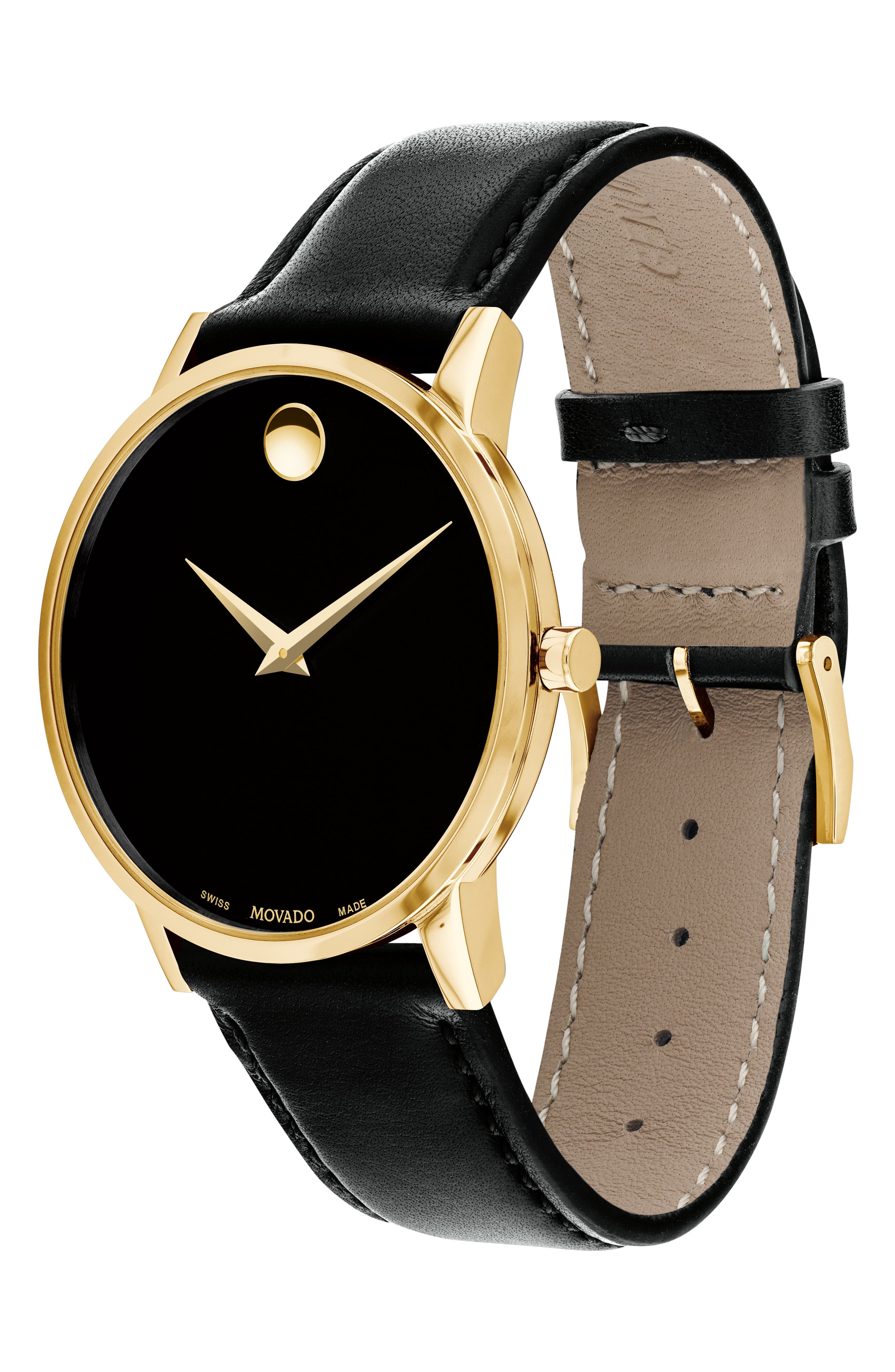 Leather Strap Watch, 40mm,                             Alternate thumbnail 3, color,                             BLACK/ GOLD