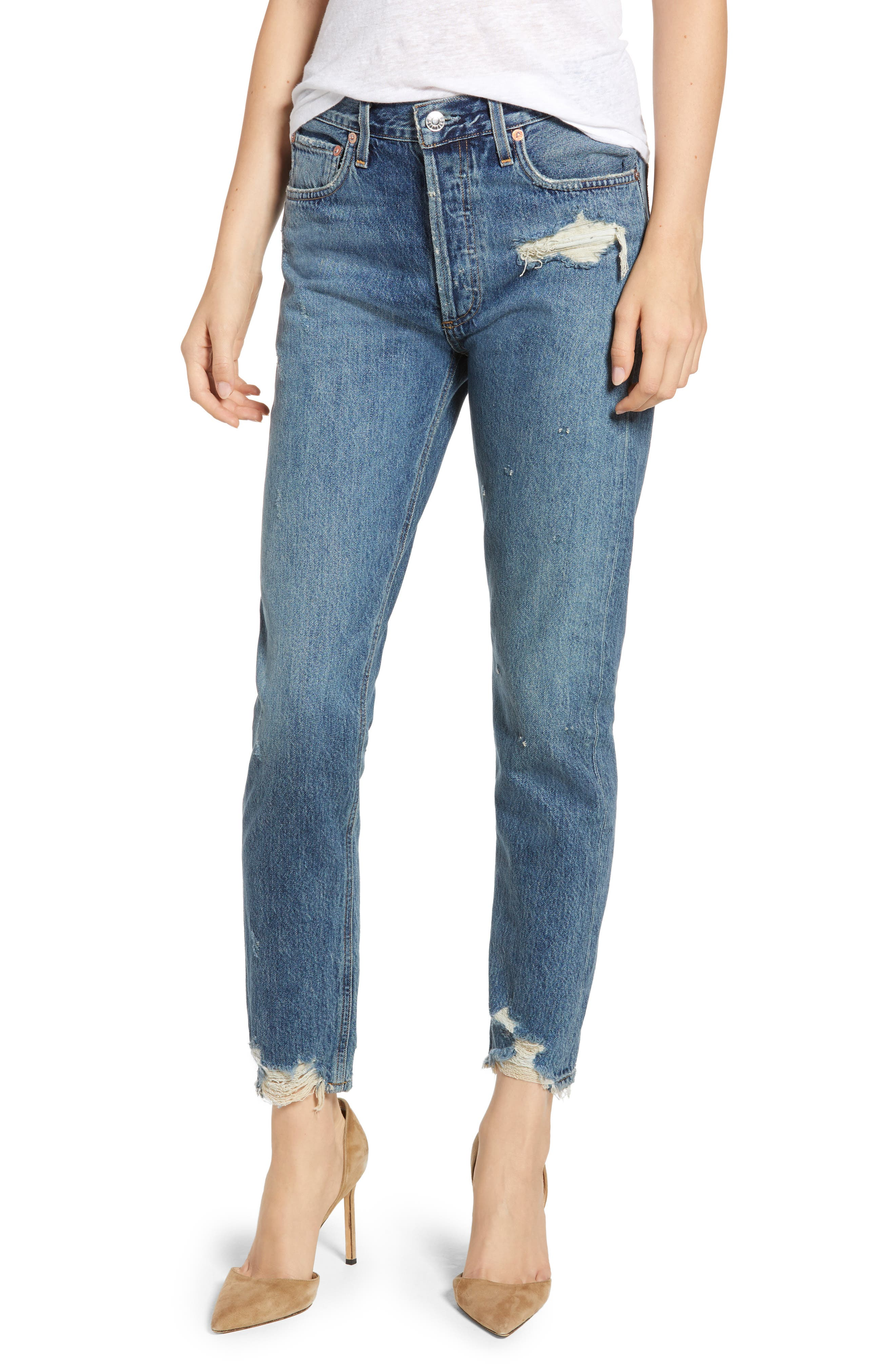 Jamie High-Rise Distressed Skinny Jeans With Chewed Hem in Grade