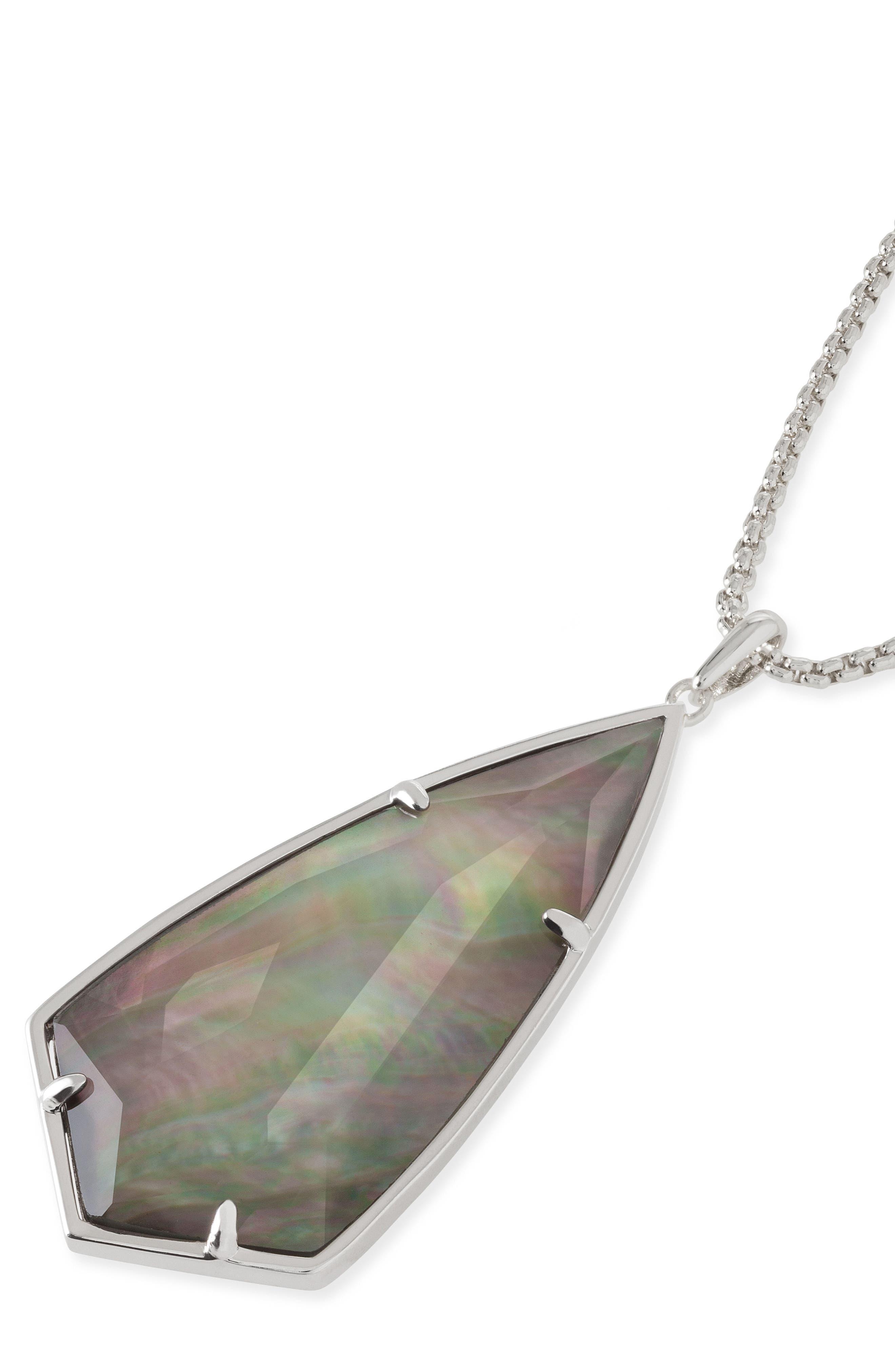 'Carole' Long Semiprecious Stone Pendant Necklace,                             Alternate thumbnail 38, color,