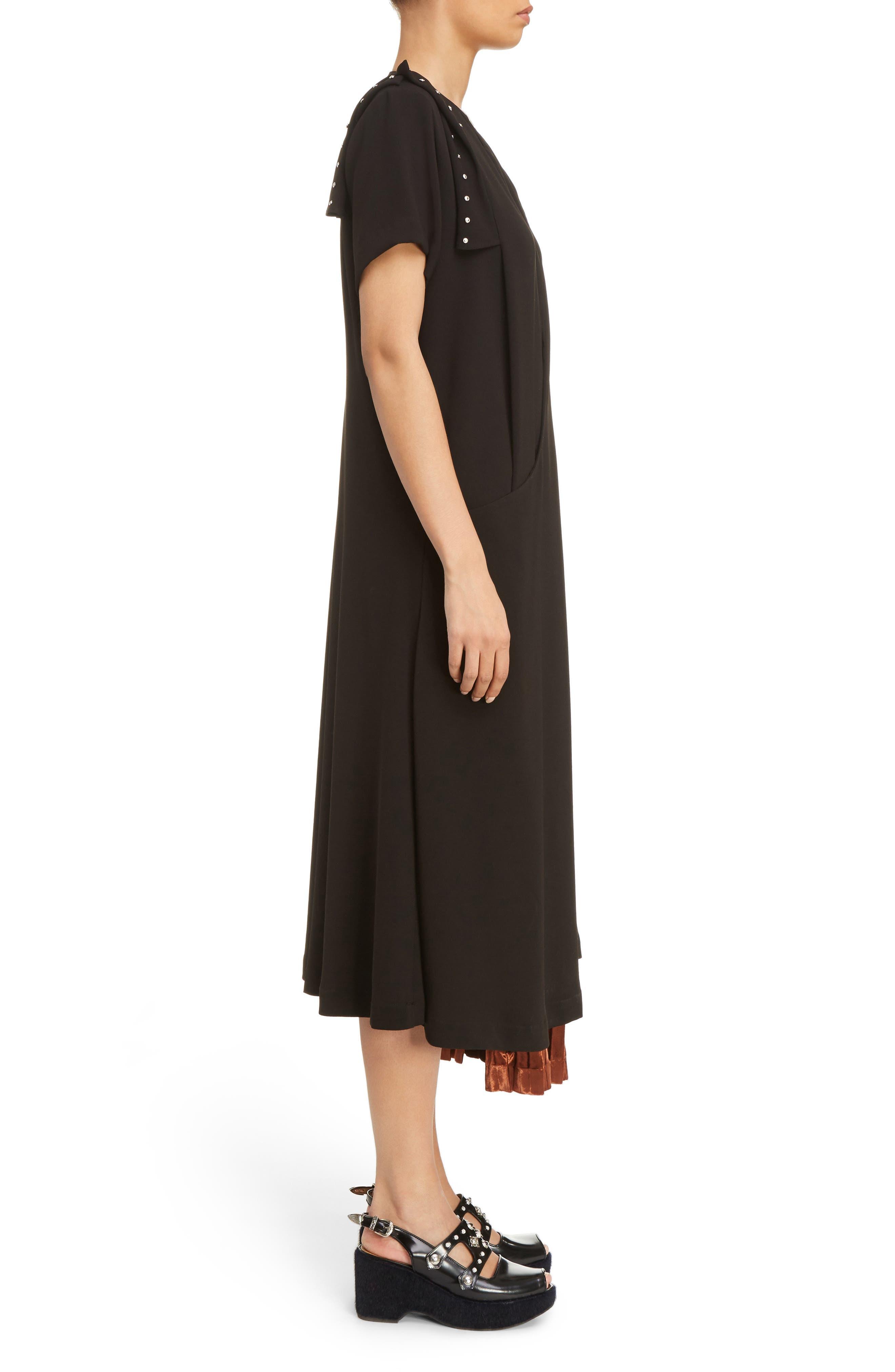 Georgette Faux Wrap Dress,                             Alternate thumbnail 3, color,                             001