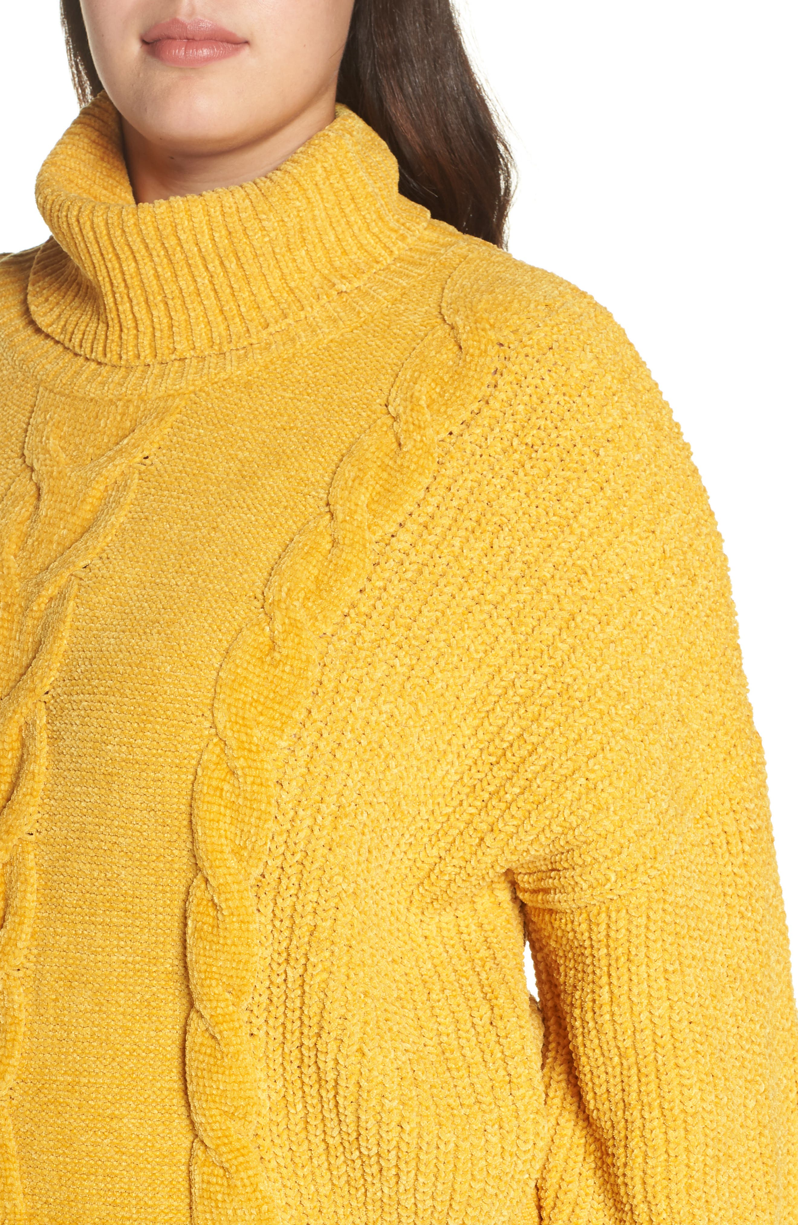 Cable Knit Chenille Sweater,                             Alternate thumbnail 4, color,                             YELLOW MINERAL