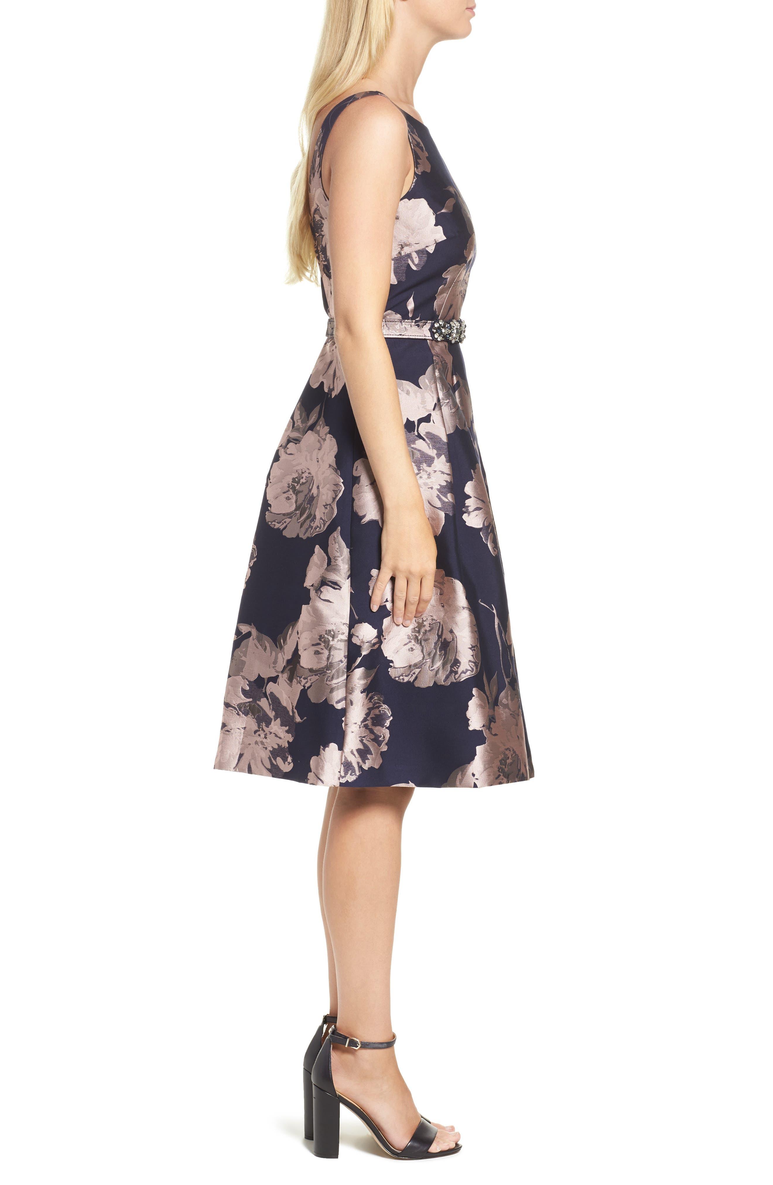 Belted Brocade A-Line Dress,                             Alternate thumbnail 3, color,                             410