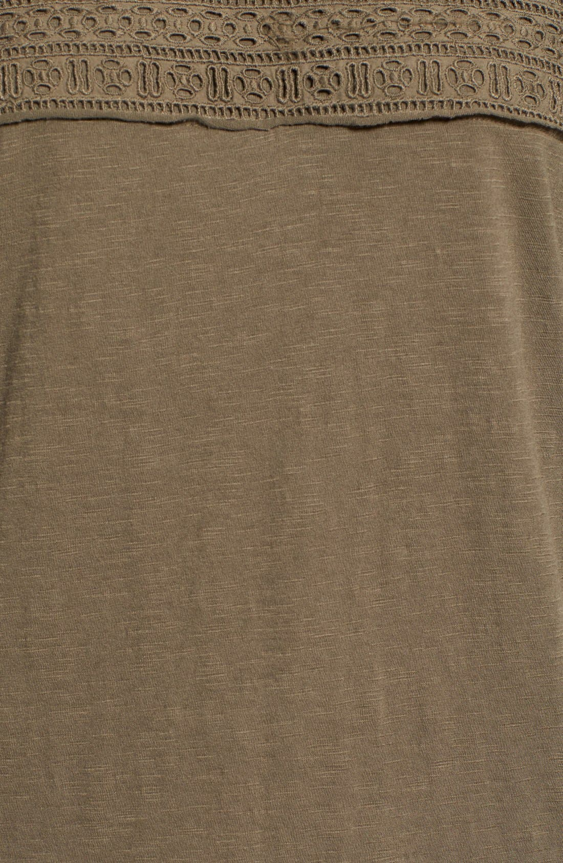 Eyelet Trim Three-Quarter Sleeve Tee,                             Alternate thumbnail 17, color,