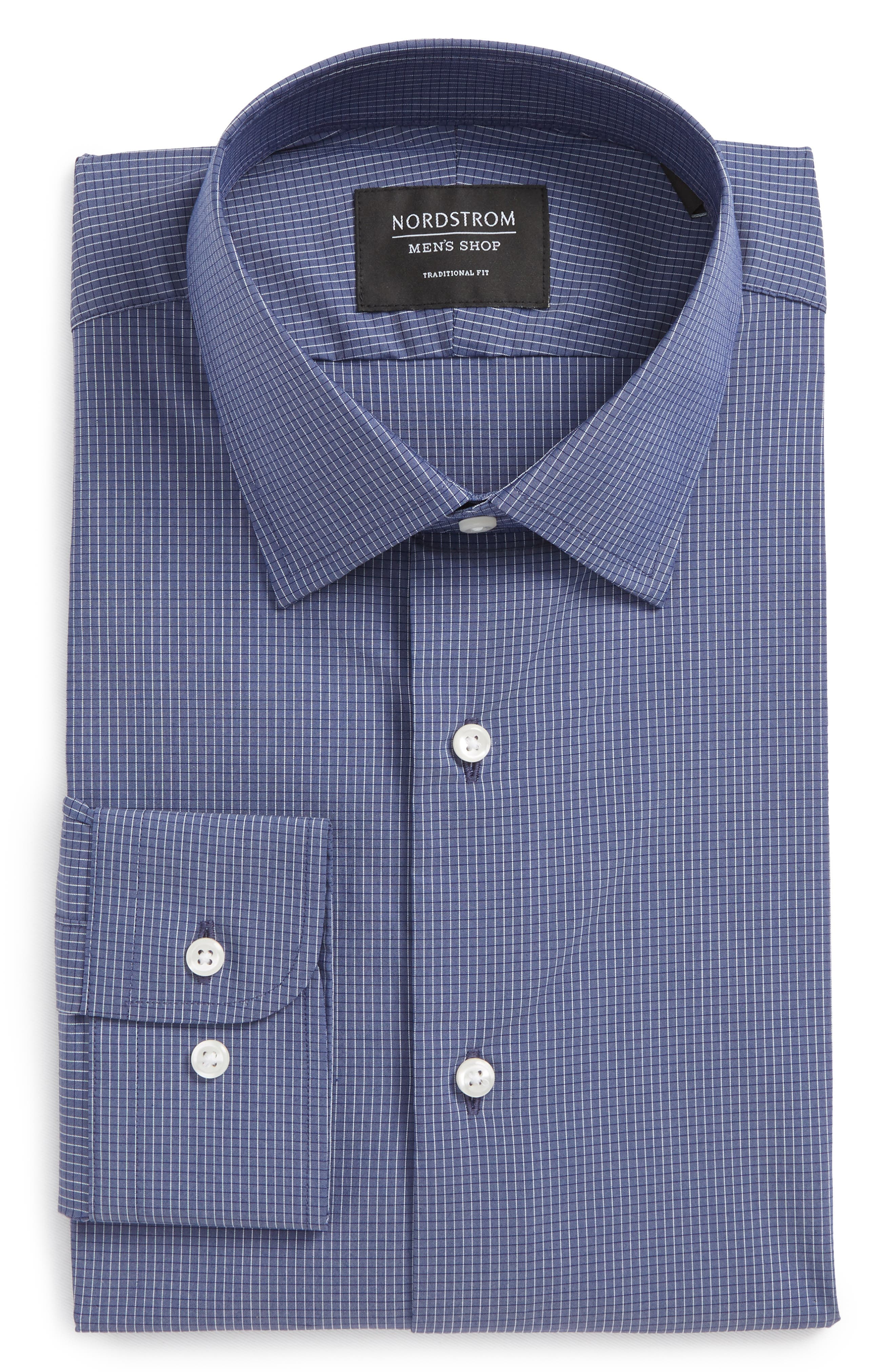 Traditional Fit Stretch Check Dress Shirt,                             Alternate thumbnail 9, color,