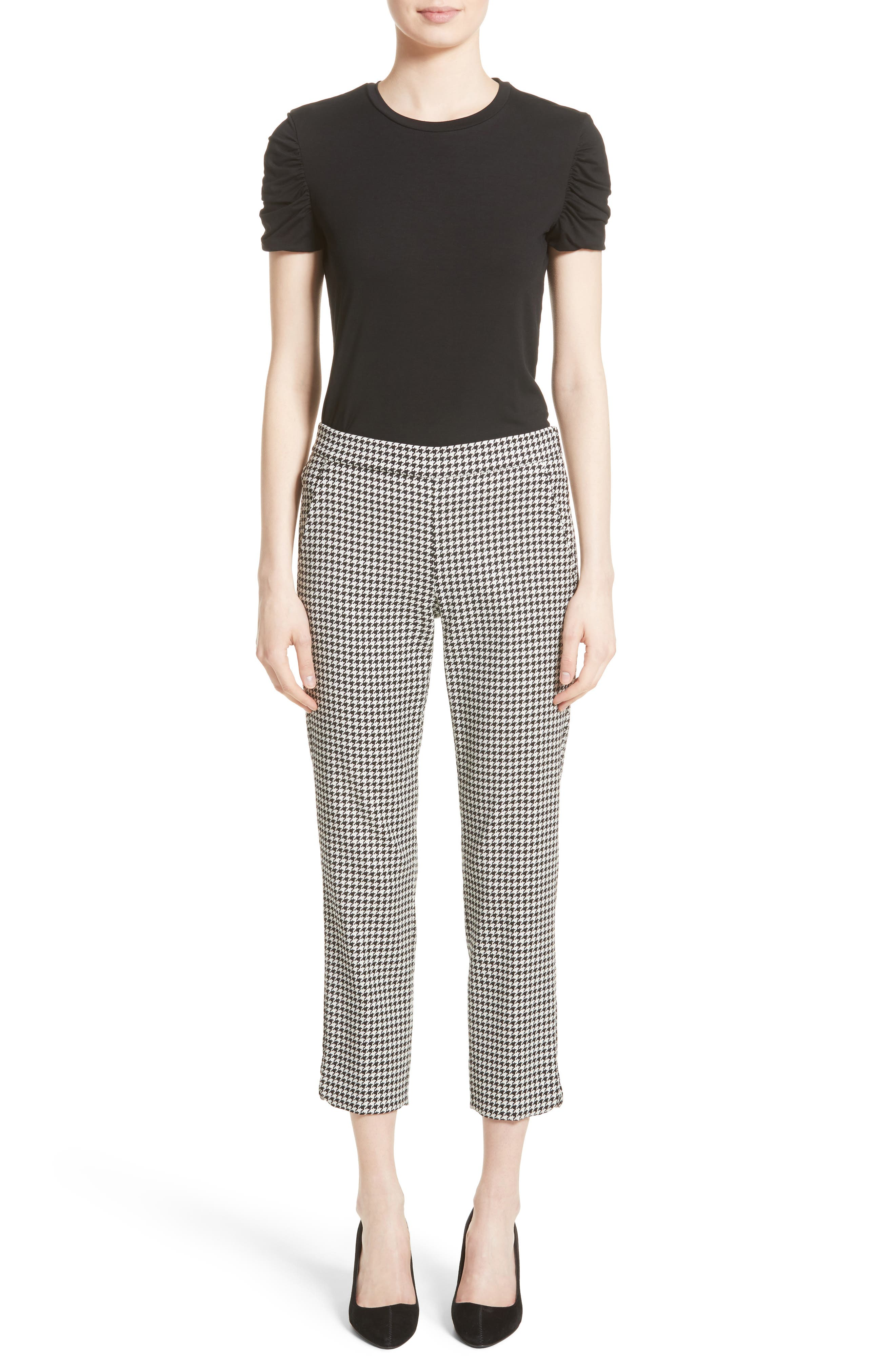 Astrale Houndstooth Wool Blend Pants,                             Alternate thumbnail 6, color,                             001