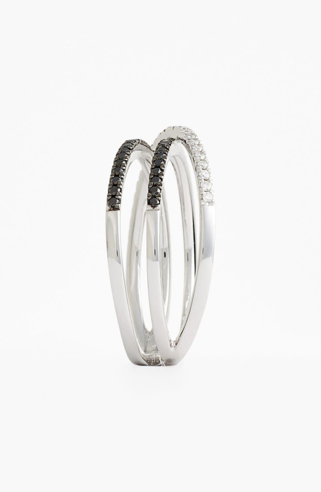 Crossover Three-Row Diamond Ring,                             Alternate thumbnail 10, color,