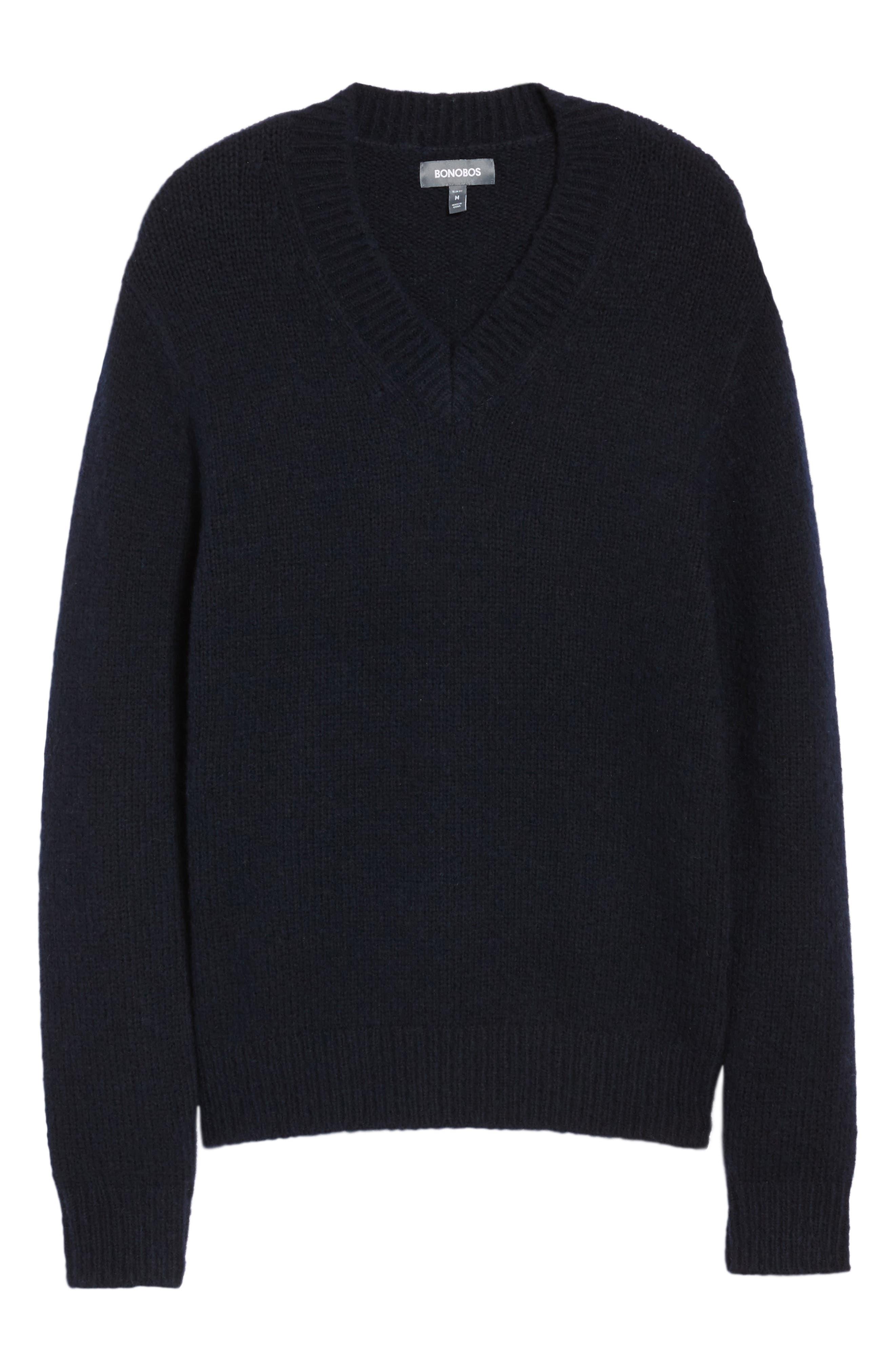 Fuzzy Deep V-Neck Wool Blend Sweater,                             Alternate thumbnail 12, color,